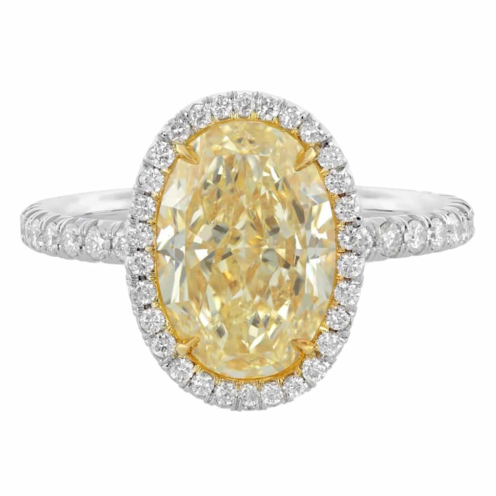 Condition: New, Custom Made. 12.53 Carat Gia Certified Platinum Fancy Yellow Oval Cut Diamond Engagement Ring. Sku 11 03 (View 13 of 25)