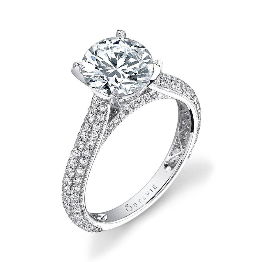Constance – Micro Pave Solitaire Engagement Ring – Sy090 | Sylvie For 2018 Micropavé Diamond Narrow Wedding Bands (View 19 of 25)
