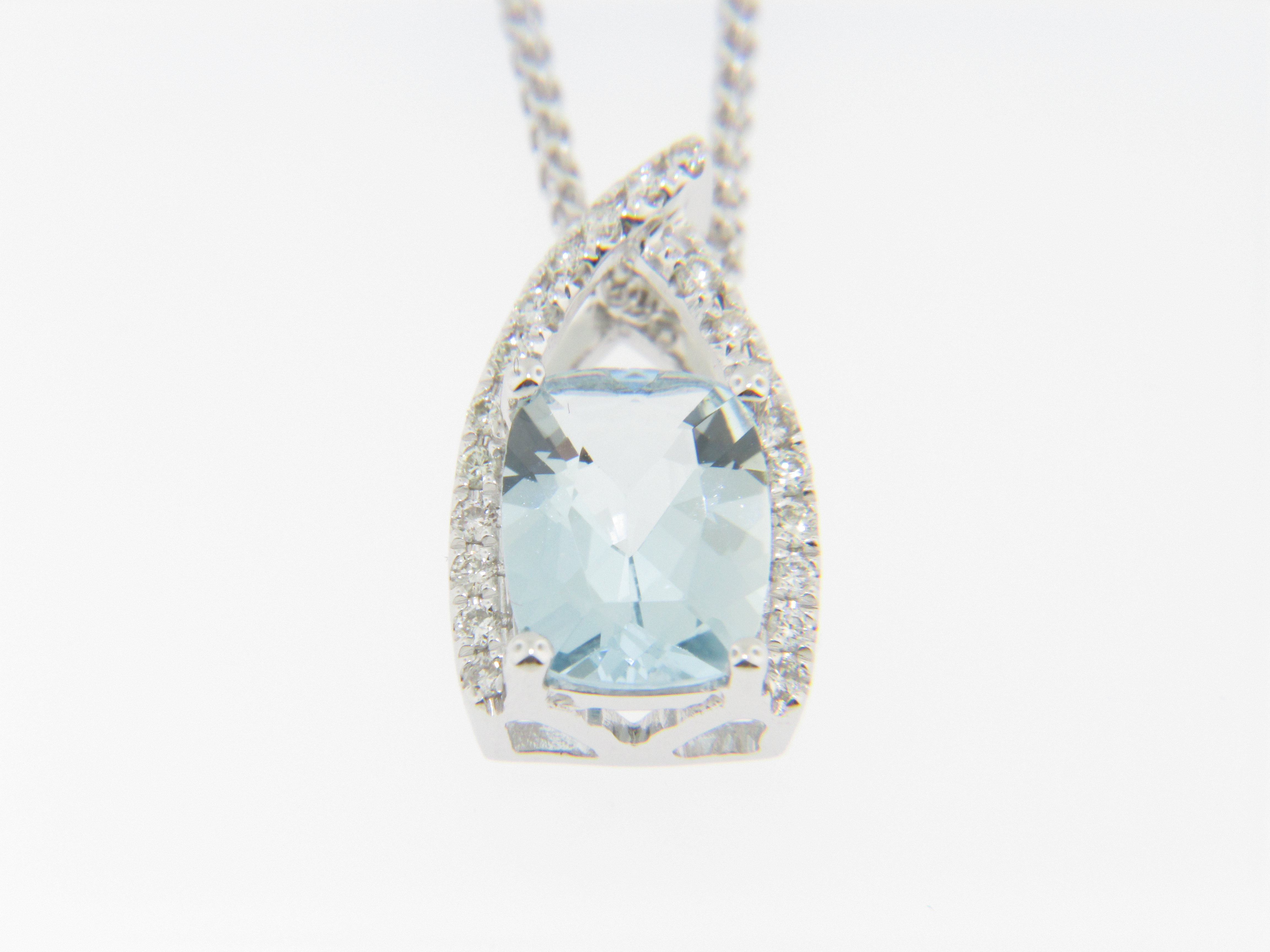 Contemporary Cushion Cut Aquamarine & Diamond Pendant With Most Up To Date Sapphire, Aquamarine And Diamond Necklaces (View 9 of 25)