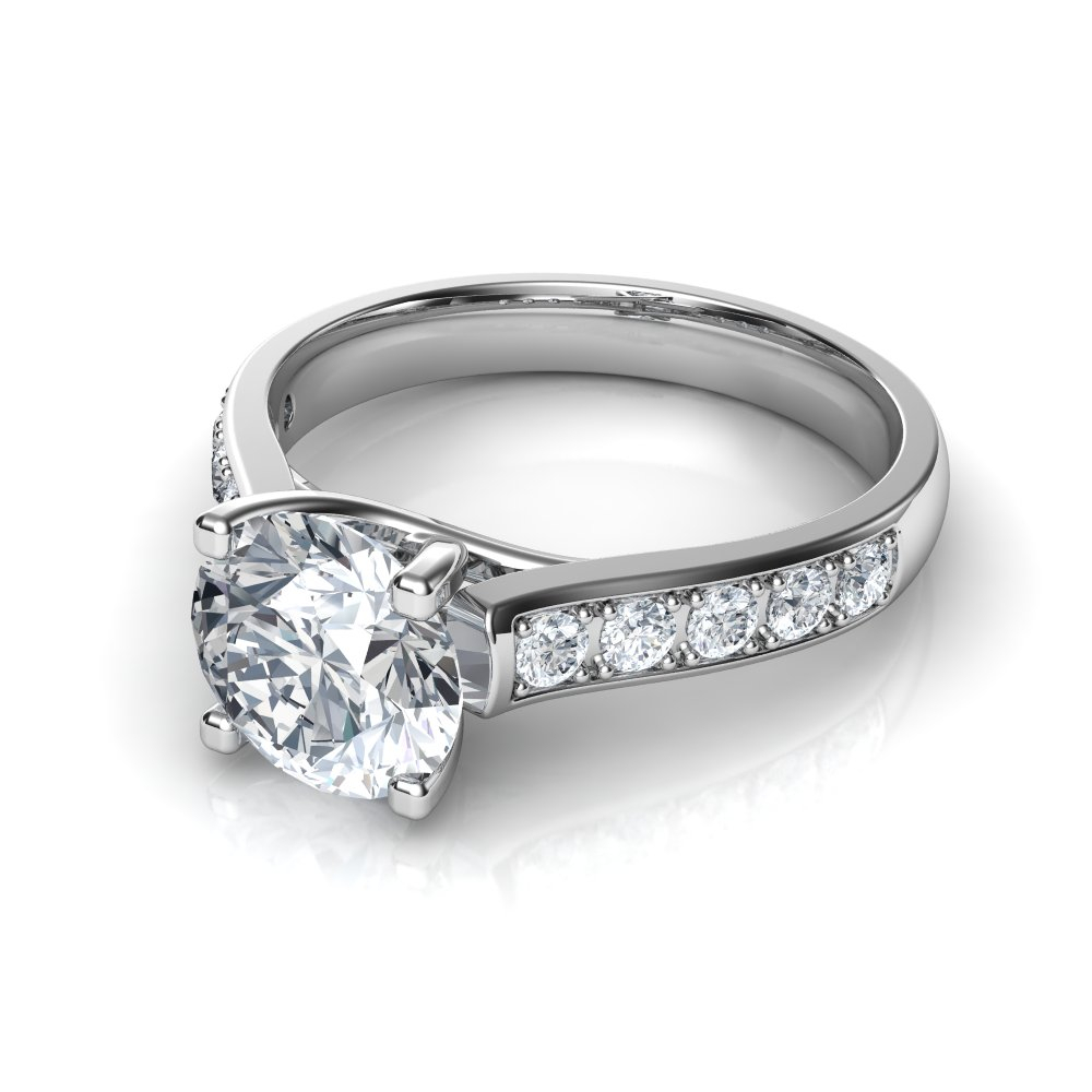 Cross Prong Design Round Cut Diamond Engagement Ring Regarding Round Brilliant Diamond Engagement Rings (View 9 of 25)