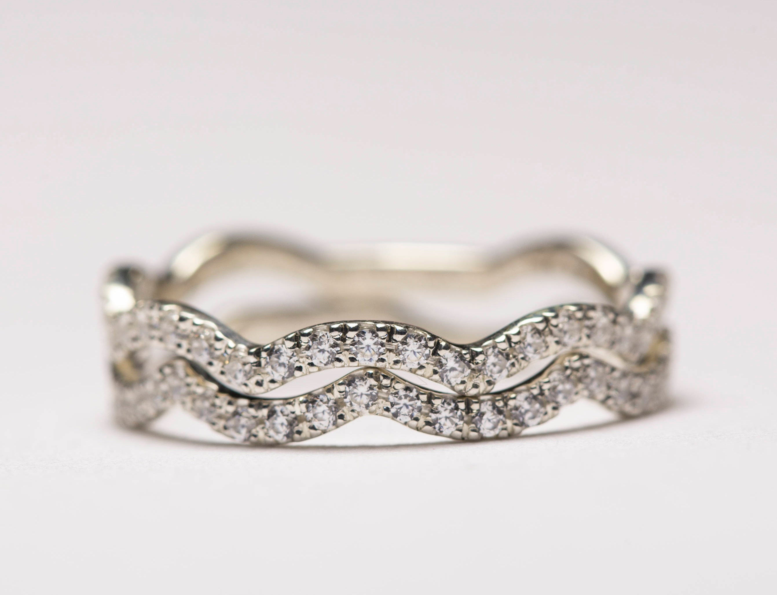 Curved Wedding Band, Wavy Ring, Curved Ring, Gold Stacking Rings, Wavy Stacking Rings, Curvy Ring, Wavy Eternity Rings,diamond Pave,wave Throughout Most Up To Date Wave Diamond Wedding Bands With Pavé (View 23 of 25)