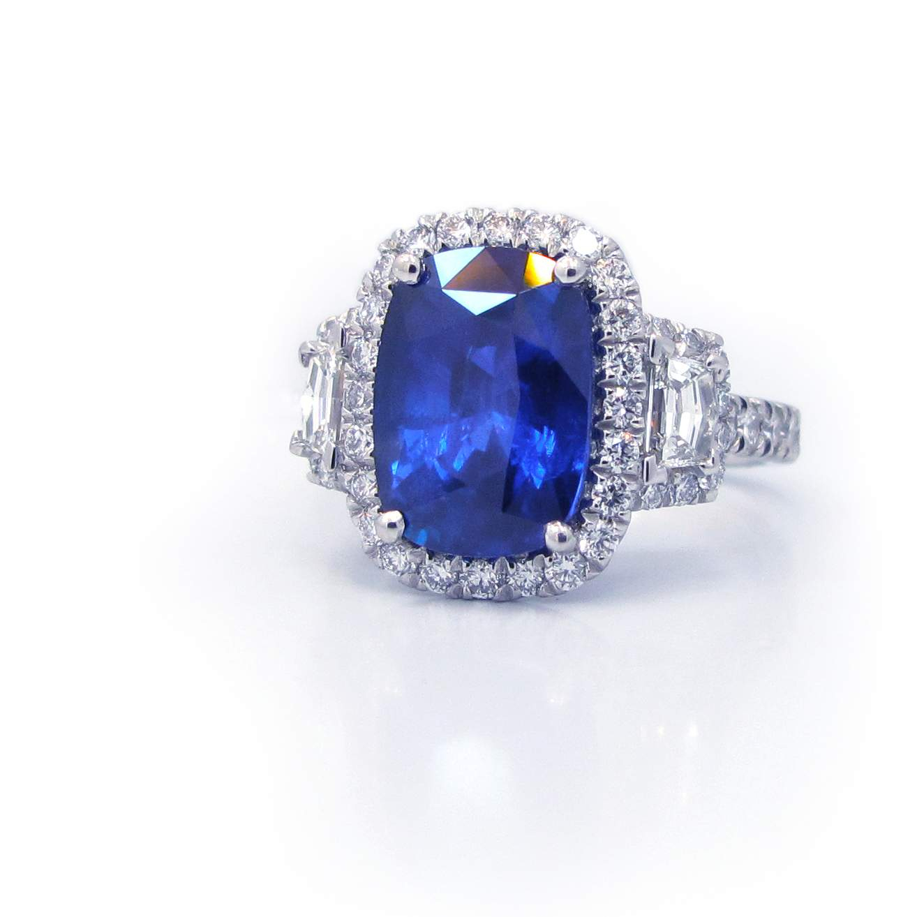 Cushion Cut Blue Sapphire And Diamond Ring In Platinum Regarding Cushion Cut Sapphire Rings (View 7 of 25)