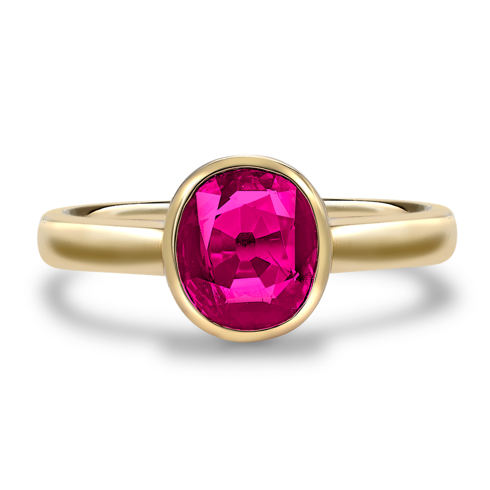 Cushion Cut Burmese Ruby Ring Set In Yellow Gold With Cushion Cut Ruby Rings (View 12 of 25)