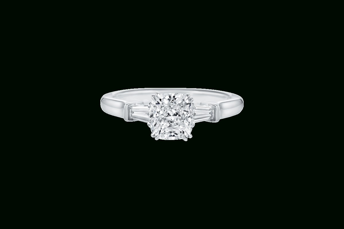 Cushion Cut Diamond Engagement Ring | Harry Winston In Cushion Cut Engagement Rings With Tapered Baguette Side Stones (View 9 of 25)