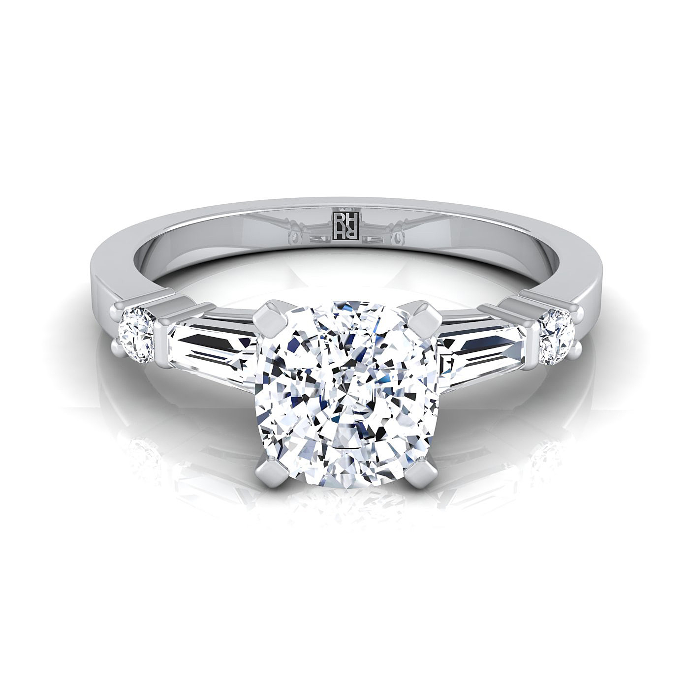 Cushion Cut Diamond Engagement Ring With Tapered Baguette Sides And Round  Prong Set Shoulders In 14K White Gold (1/4 Ct.tw (View 8 of 25)