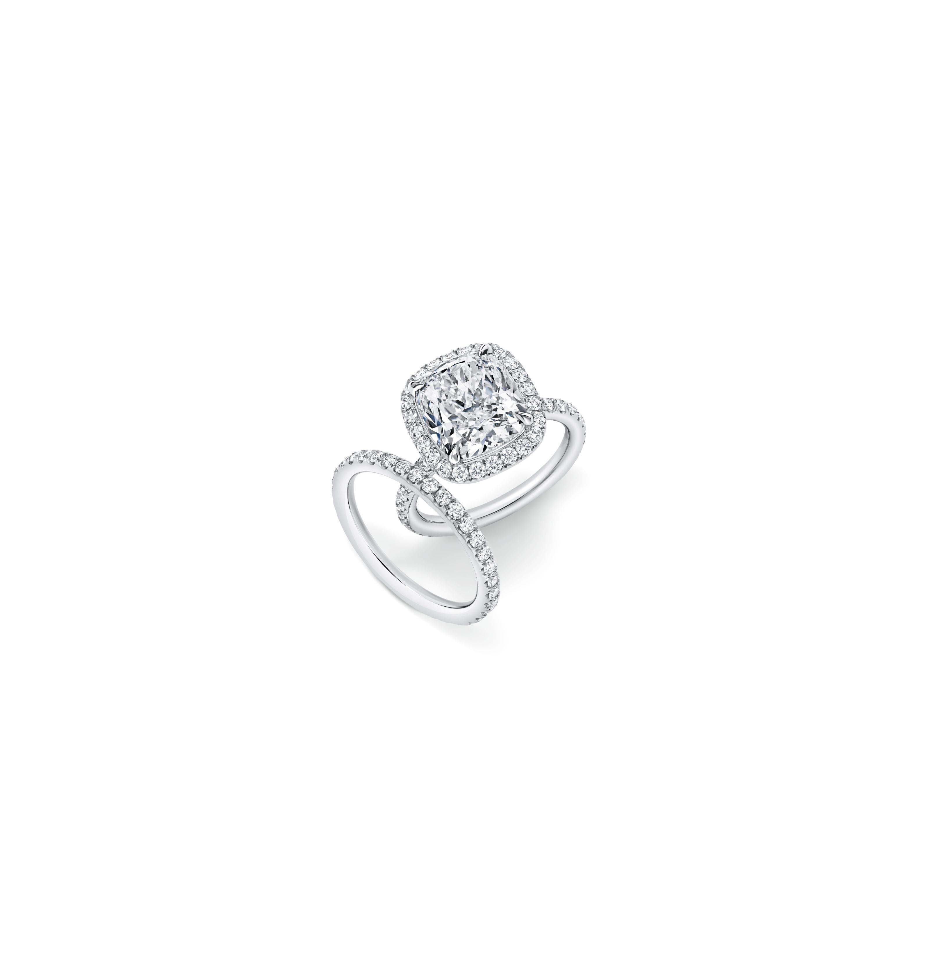 Cushion Cut Diamond Engagement Rings | Martha Stewart Weddings Within Cushion Cut Yellow Diamond Micropavé Rings (View 9 of 25)