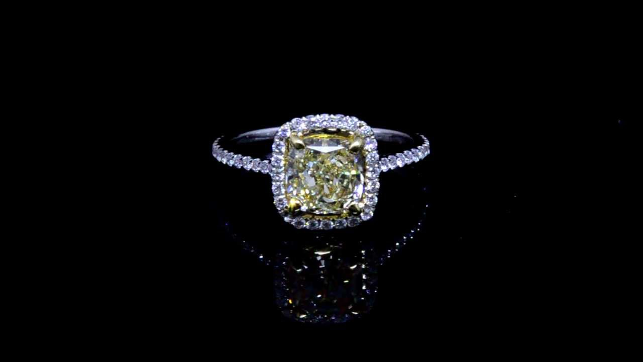 Cushion Cut Engagement Rings 0.31Ct Natural Micro Pave Halo Engagement Ring  Set 14K White Gold 5436 Inside Cushion Cut Yellow Diamond Micropavé Rings (Gallery 13 of 25)