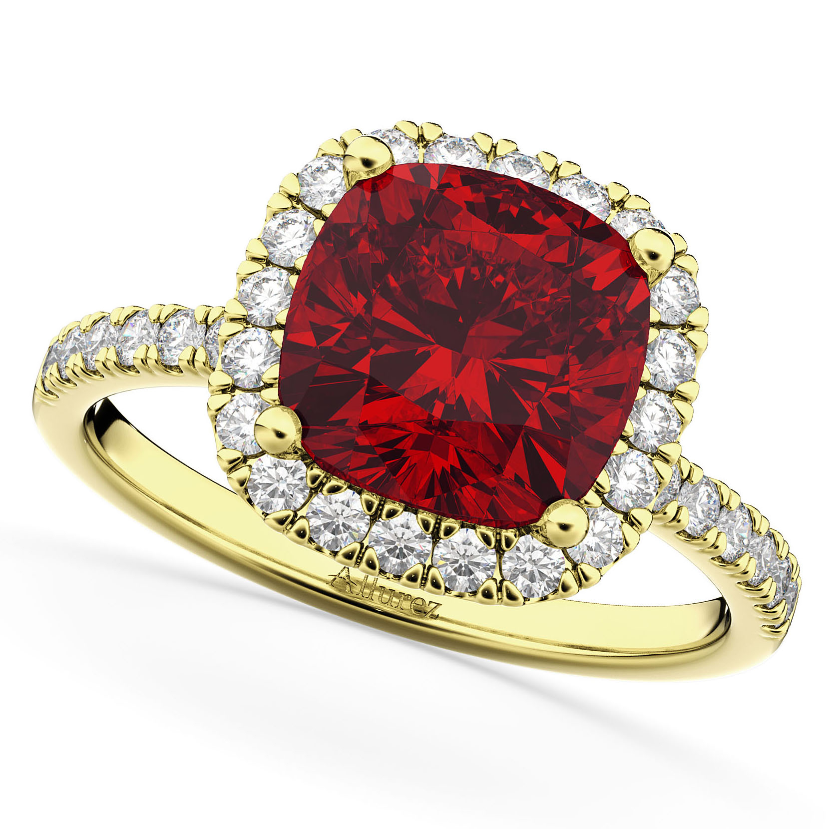 Cushion Cut Halo Ruby & Diamond Engagement Ring 14K Yellow Gold ( (View 15 of 25)