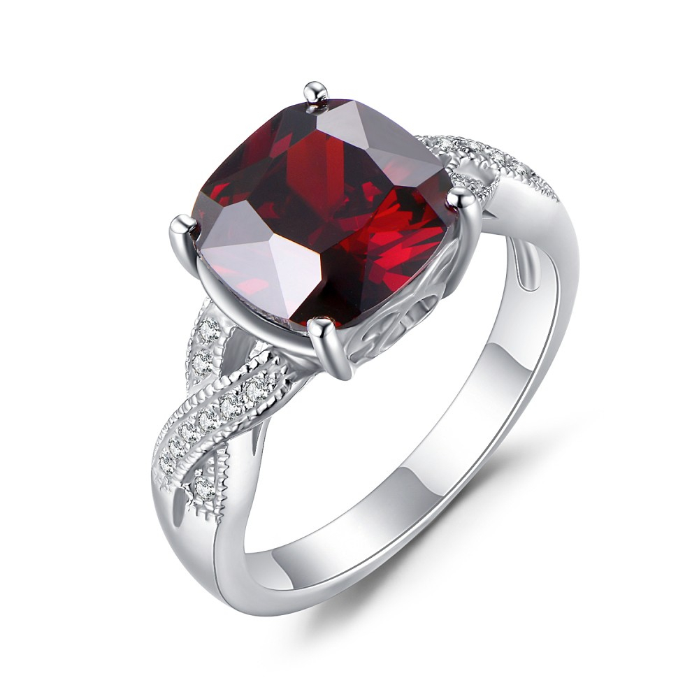 Cushion Cut Ruby 925 Sterling Silver Birthstone Rings With Regard To Cushion Cut Ruby Rings (View 5 of 25)