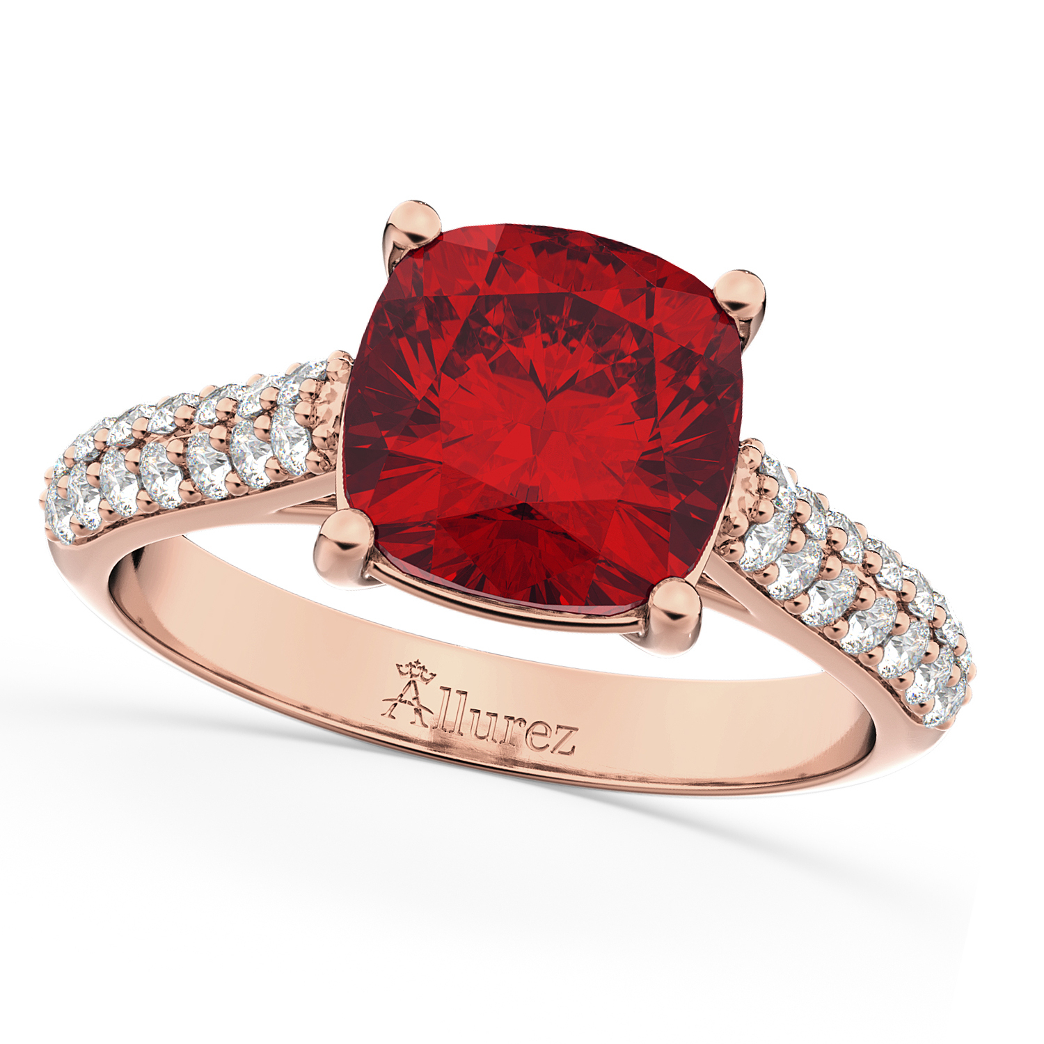 Cushion Cut Ruby & Diamond Engagement Ring 14K Rose Gold ( (View 10 of 25)