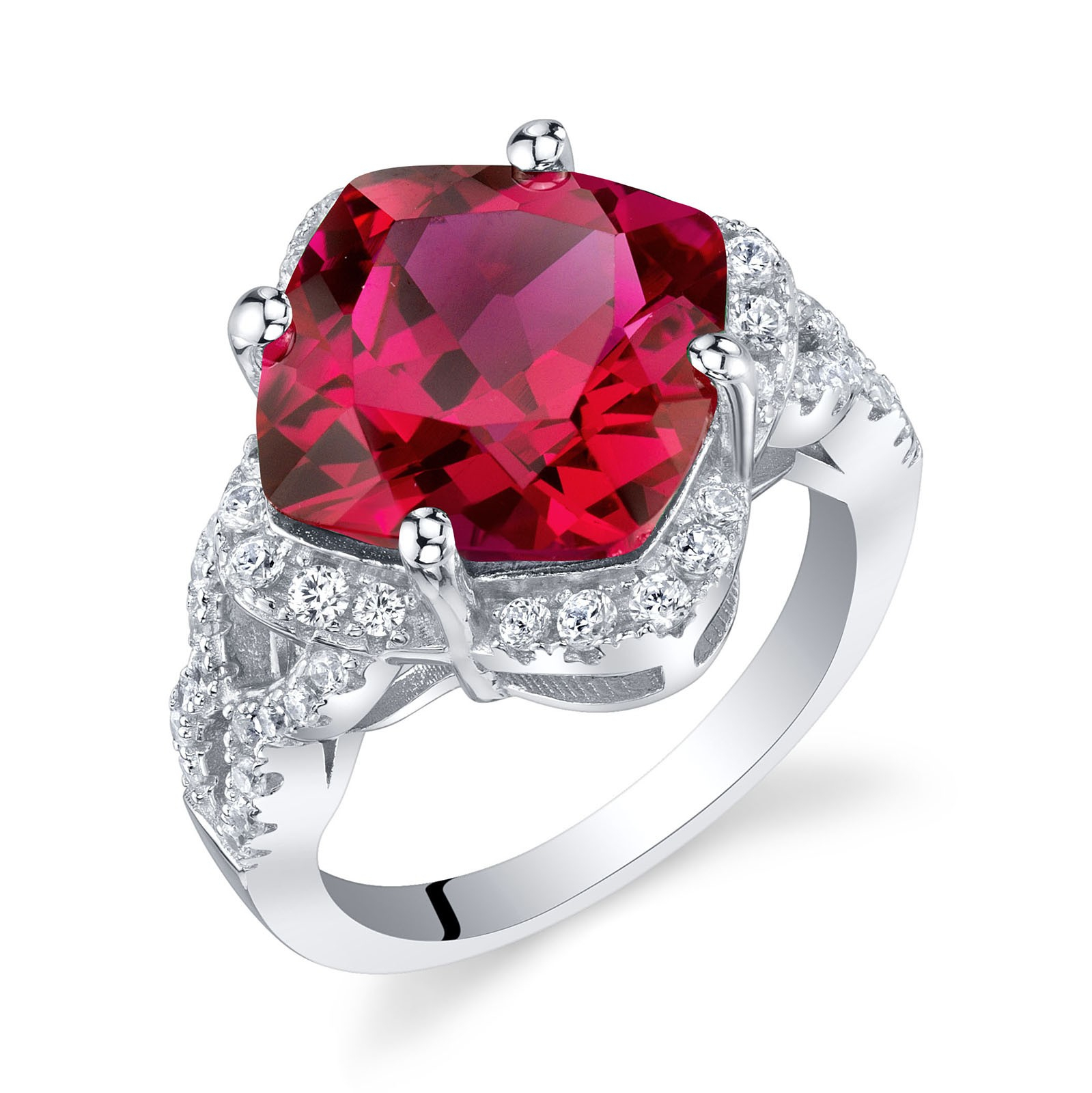 Cushion Cut Ruby Halo Ring In Sterling Silver With Cushion Cut Ruby Rings (Gallery 4 of 25)