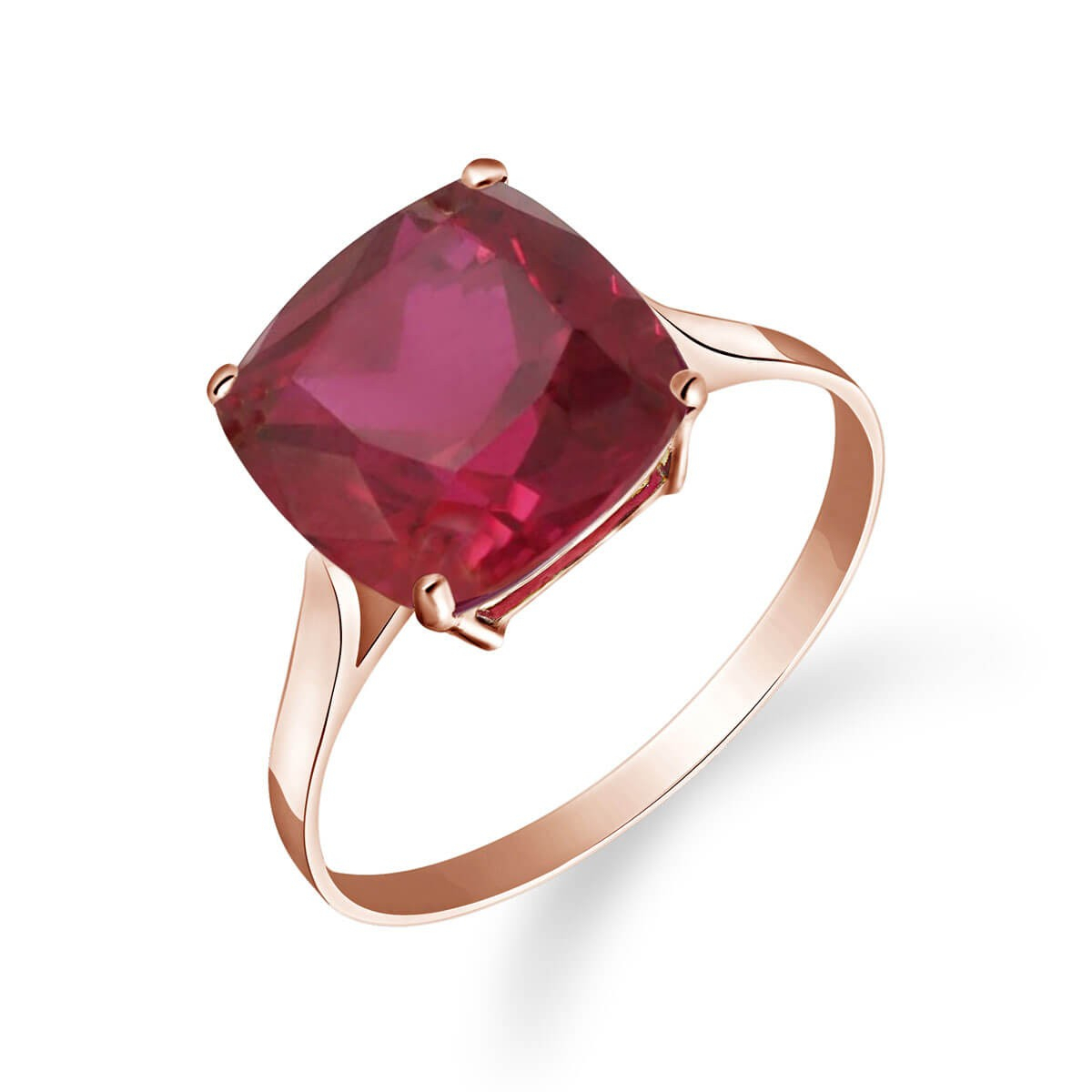 Cushion Cut Ruby Ring 4.7 Ct In 9Ct Rose Gold Pertaining To Cushion Cut Ruby Rings (Gallery 1 of 25)