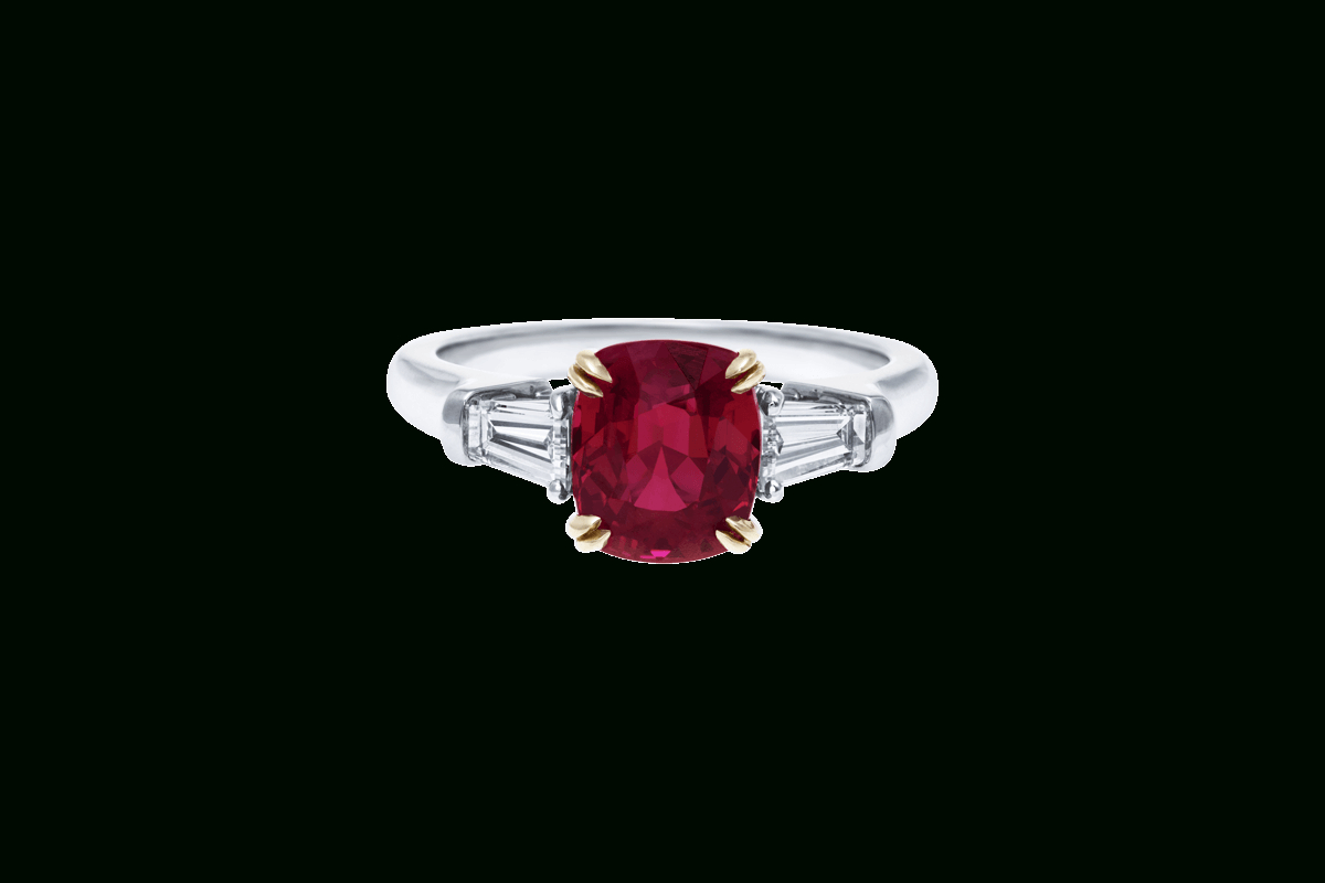 Cushion Cut Ruby Ring With Baguettes | Harry Winston For Cushion Cut Engagement Rings With Tapered Baguette Side Stones (View 11 of 25)