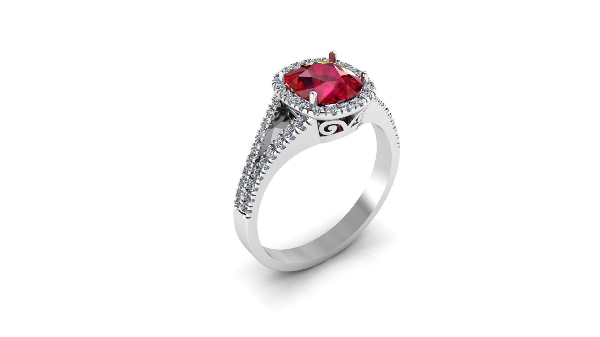 Cushion Cut Ruby Ring With Diamonds | 3D Print Model Pertaining To Cushion Cut Ruby Rings (Gallery 8 of 25)