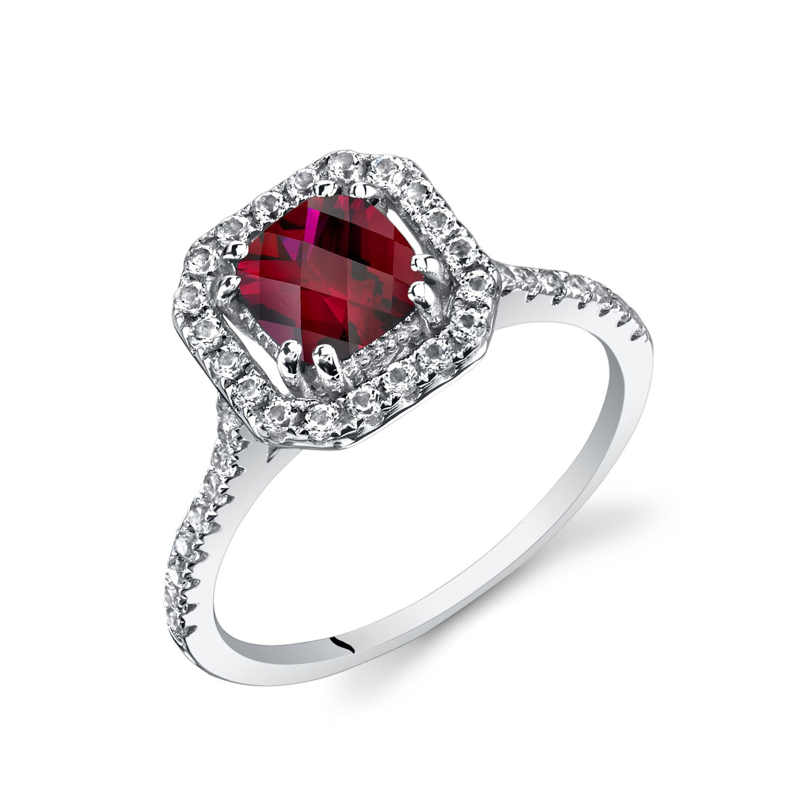 Cushion Cut Ruby & White Topaz Halo Ring In 9ct White Gold For Cushion Cut Ruby Rings (View 16 of 25)