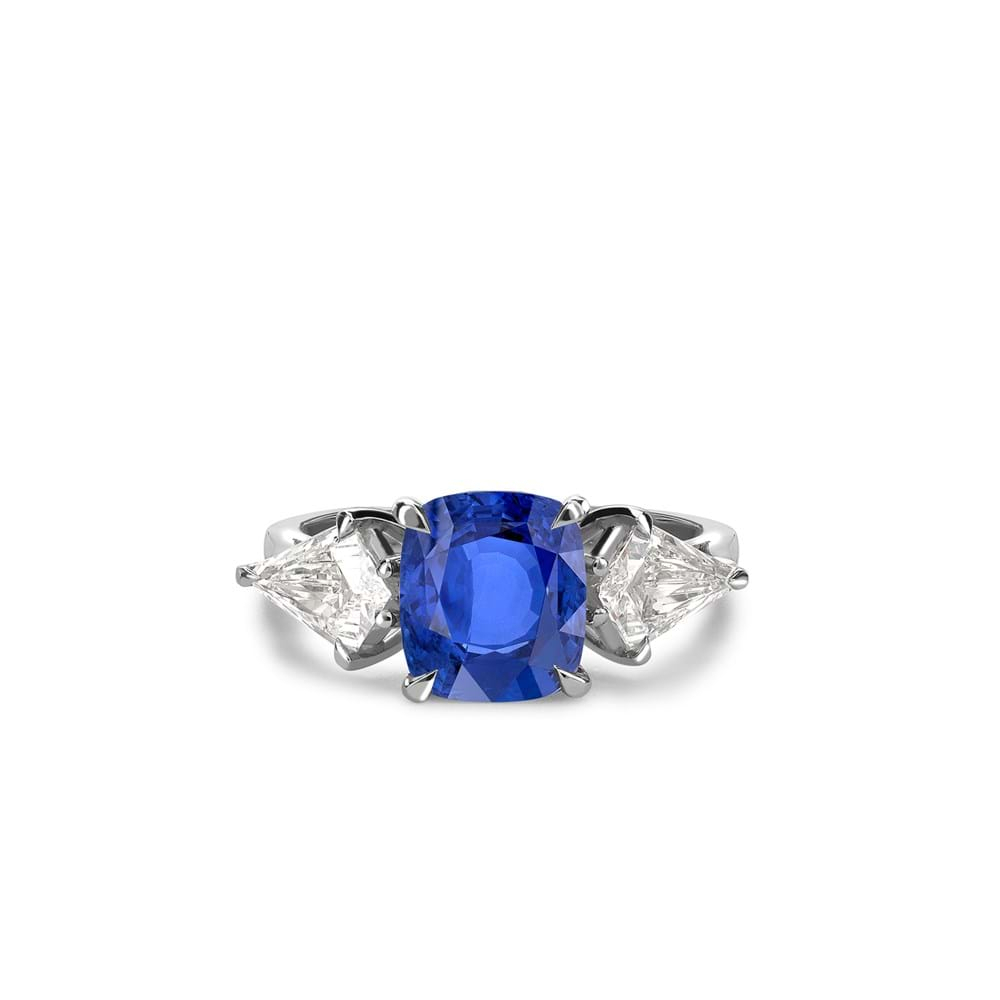 Cushion Cut Sapphire And Kite Shaped Diamond Ring With Cushion Cut Sapphire Rings (View 9 of 25)