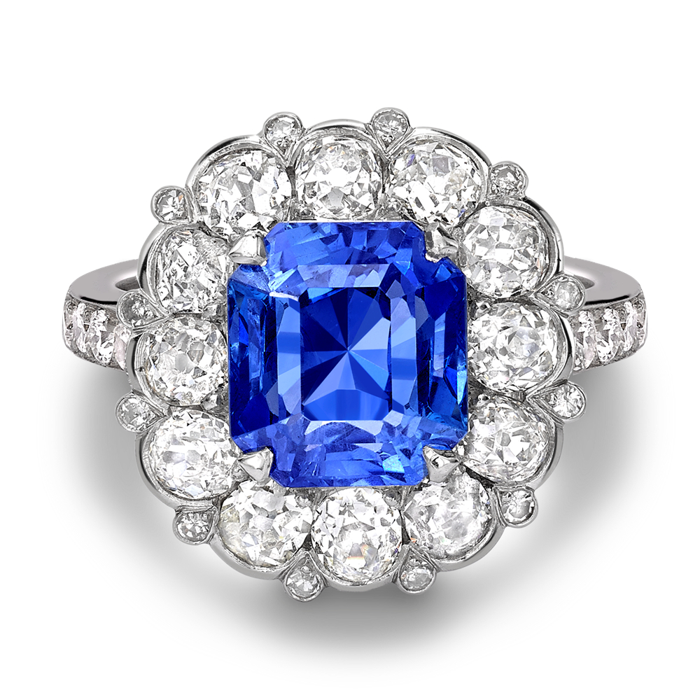 Cushion Cut Sapphire And Old Cut Diamond Ring For Cushion Cut Sapphire Rings (View 10 of 25)