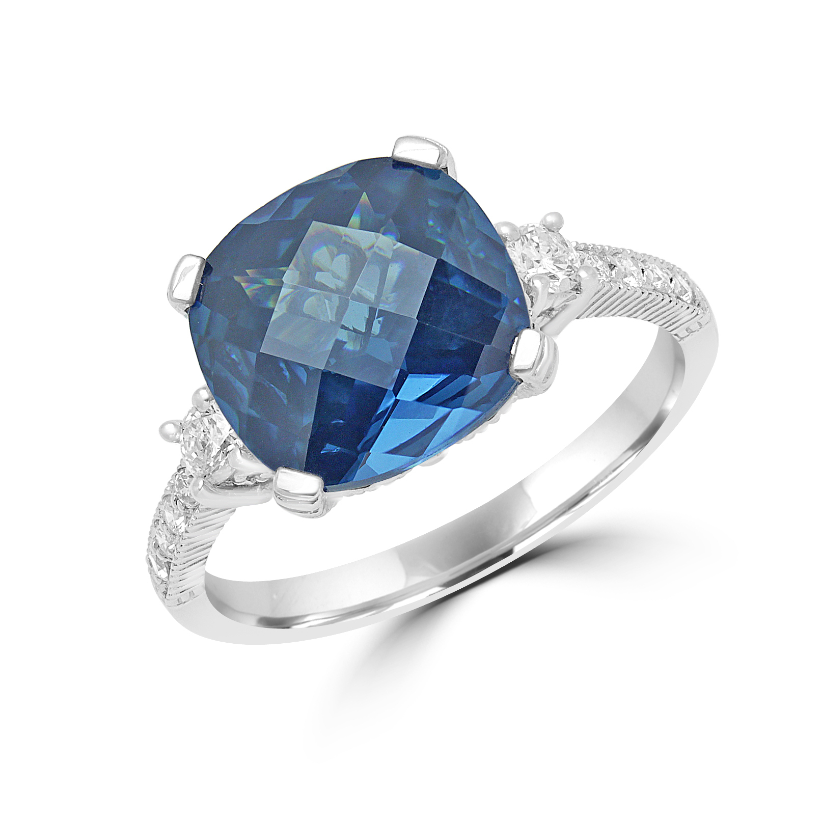 Cushion Cut Sapphire Color Cz & Diamond Ring In 14K White Gold Throughout Cushion Cut Sapphire Rings (View 11 of 25)