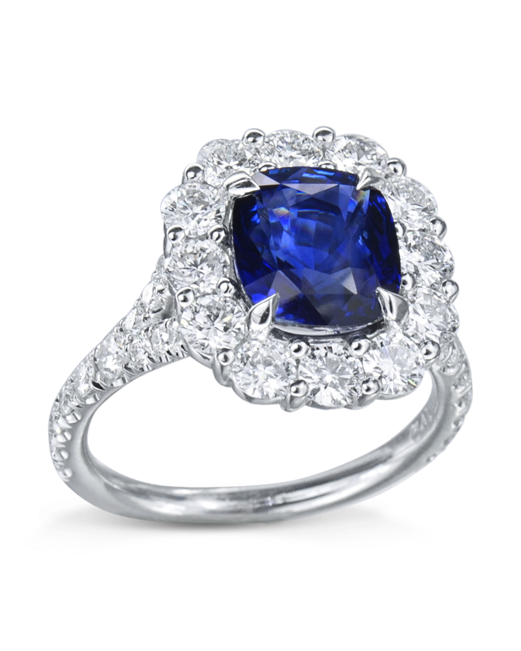Cushion Cut Sapphire Diamond Ring Throughout Cushion Cut Sapphire Rings (View 12 of 25)