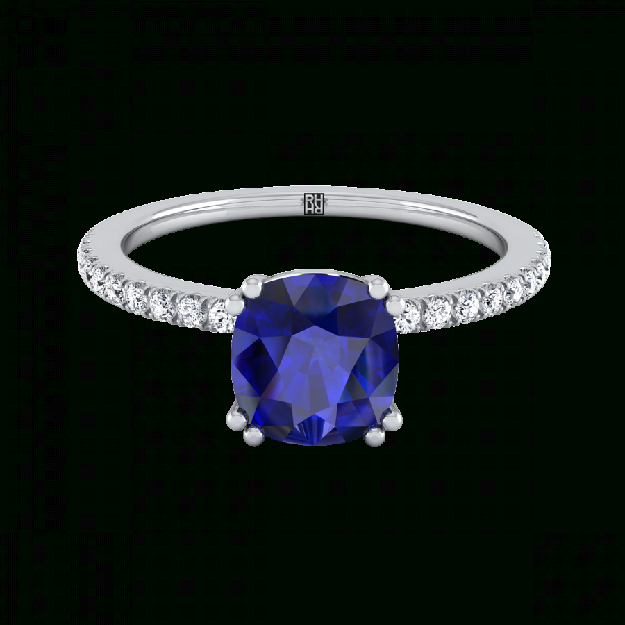 Cushion Cut Sapphire Engagement Ring With Diamond Set Petite Shank In  Platinum (1/6 Ct.tw (View 13 of 25)
