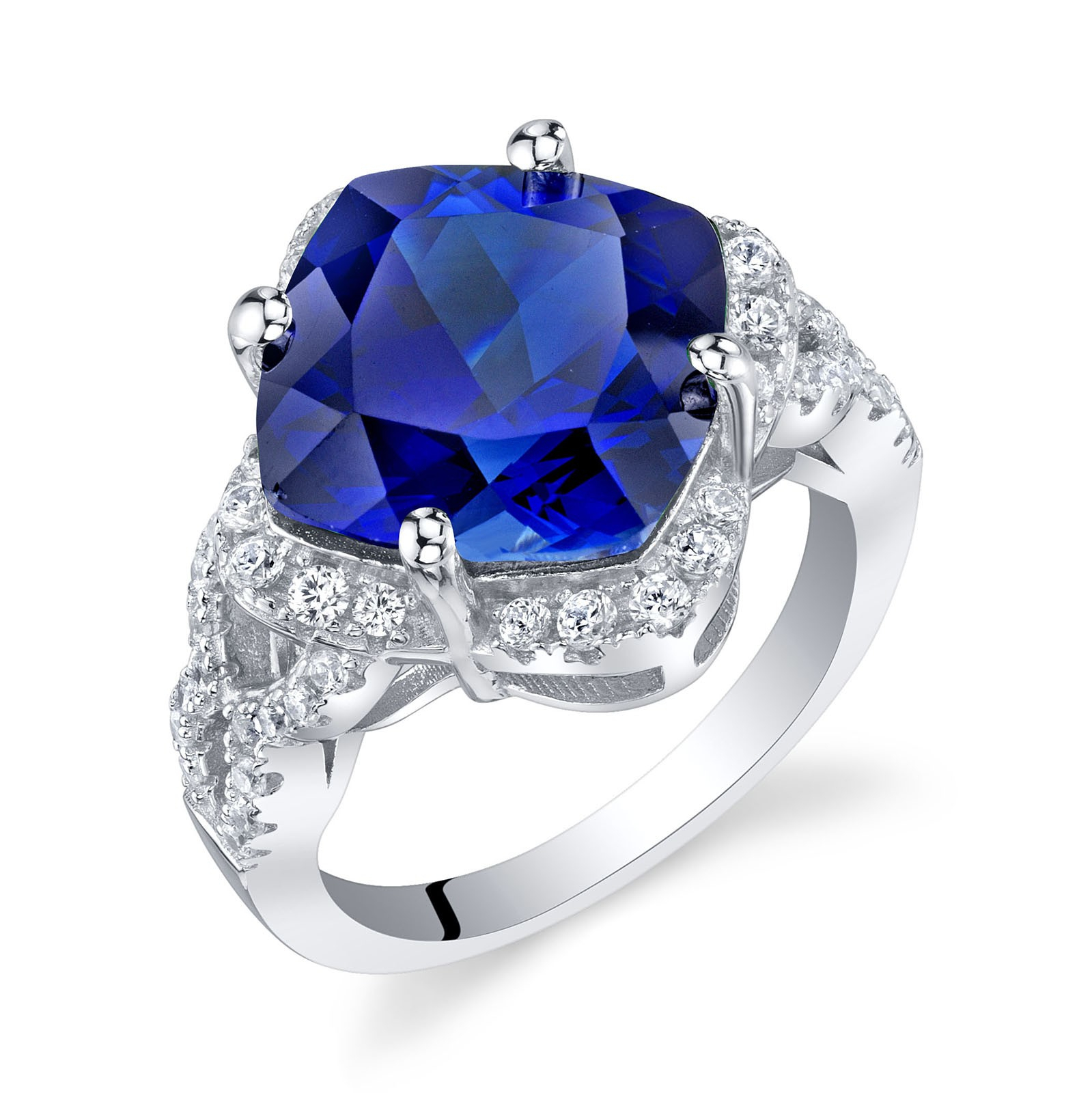 Cushion Cut Sapphire Halo Ring In Sterling Silver Inside Cushion Cut Sapphire Rings (View 14 of 25)