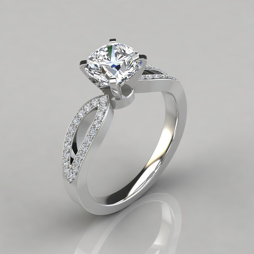 Cushion Cut Split Shank Micropavé Engagement Ring – Puregemsjewels With Cushion Cut Diamond Micropavé Engagement Rings (View 14 of 25)