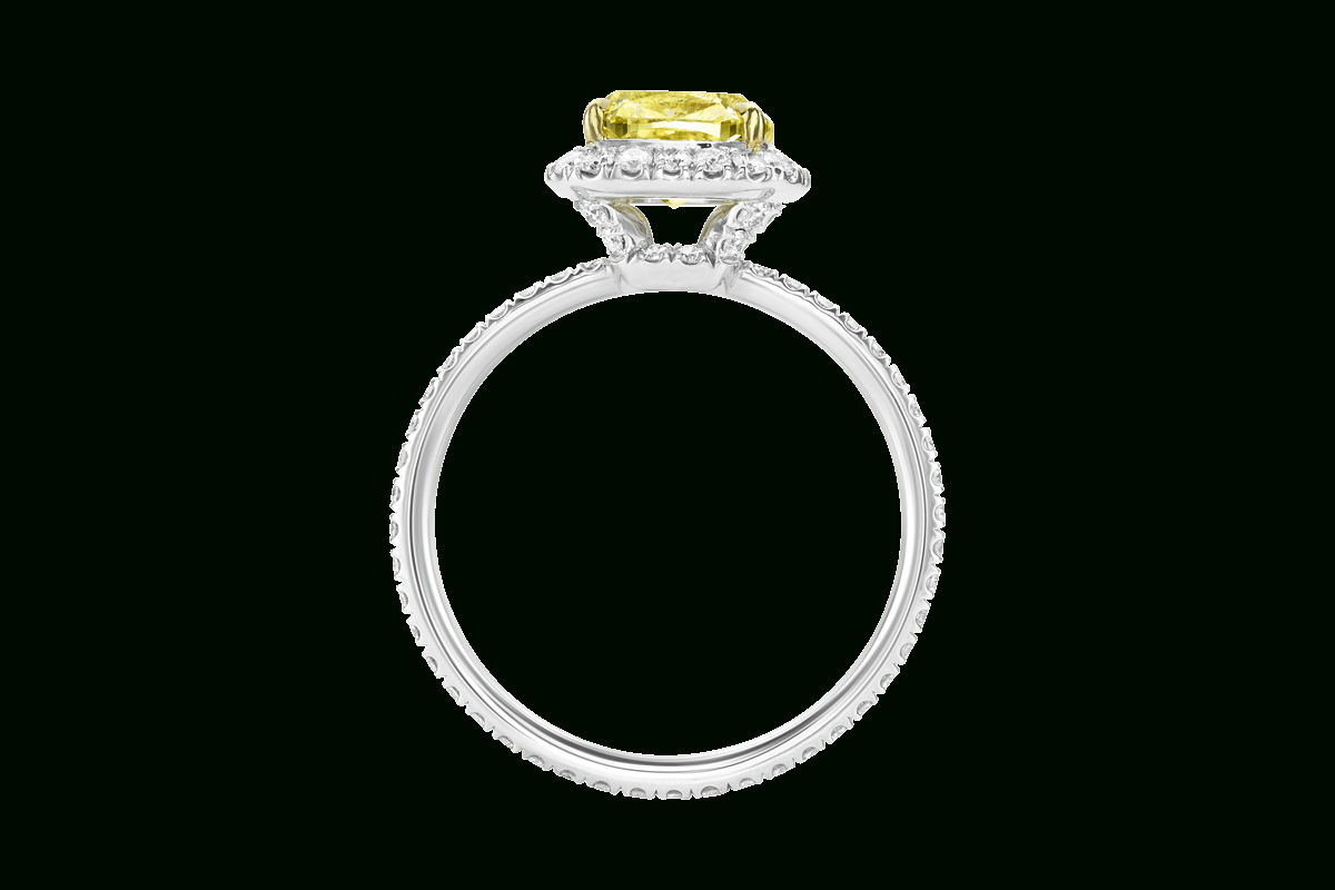 Cushion Cut Yellow Diamond Ring | Harry Winston Within Cushion Cut Yellow Diamond Micropavé Rings (View 3 of 25)