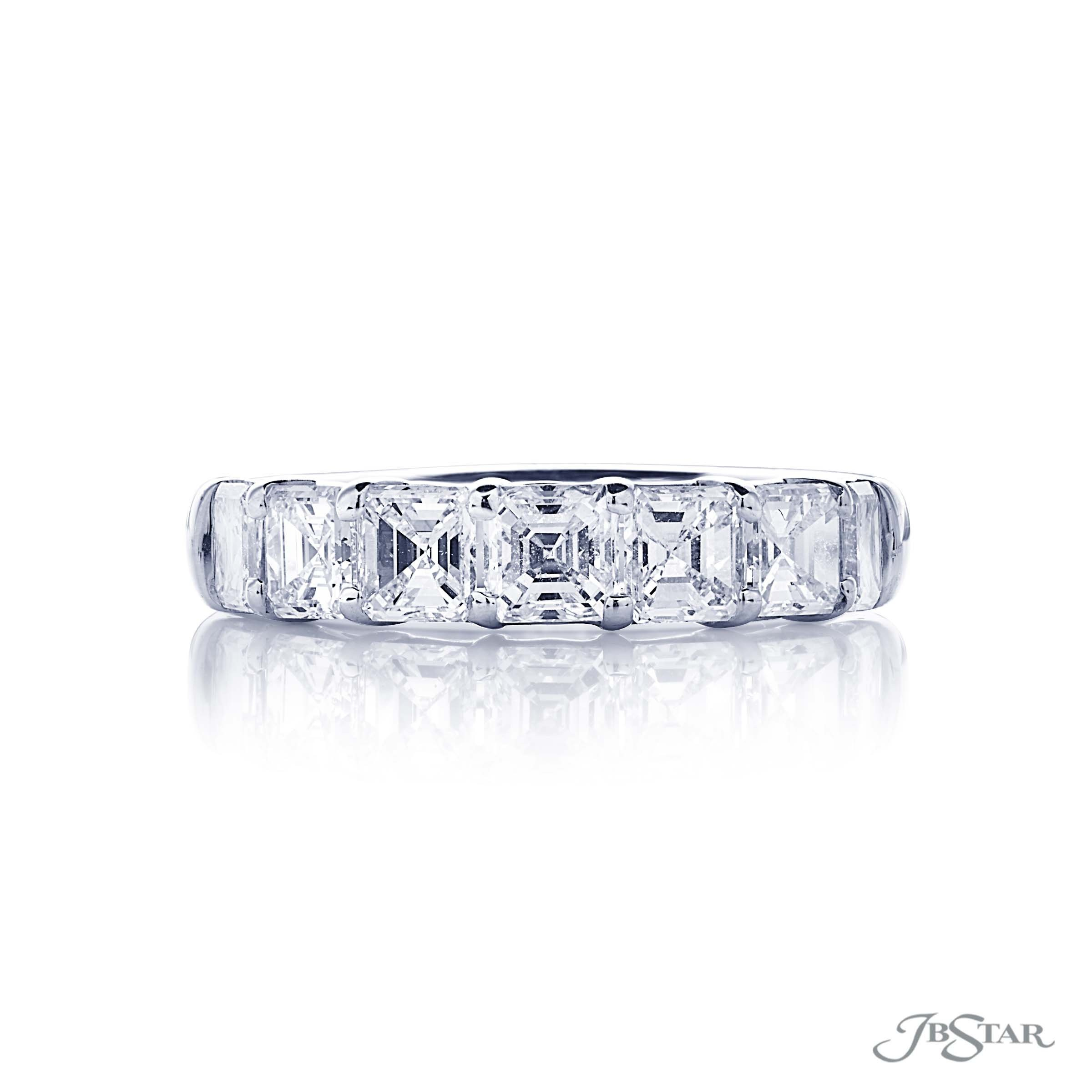 Dazzling Diamond Wedding Band Featuring 7 Square Emerald Cut Throughout 2017 Prong Set Emerald Cut Diamond Wedding Bands (View 5 of 25)