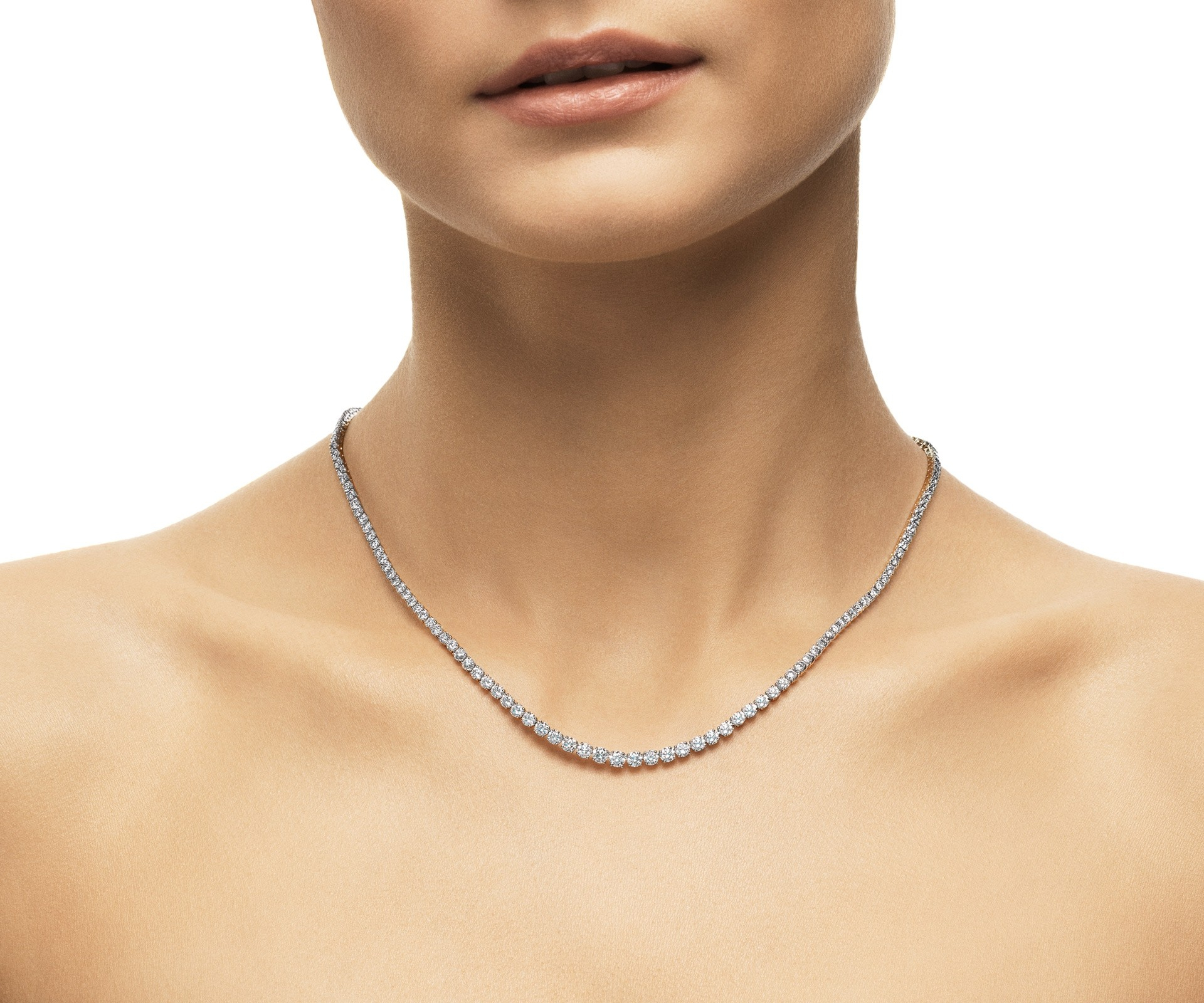 Db Classic Diamond Line Necklace In Most Popular Round Brilliant Diamond Straightline Necklaces (View 9 of 25)