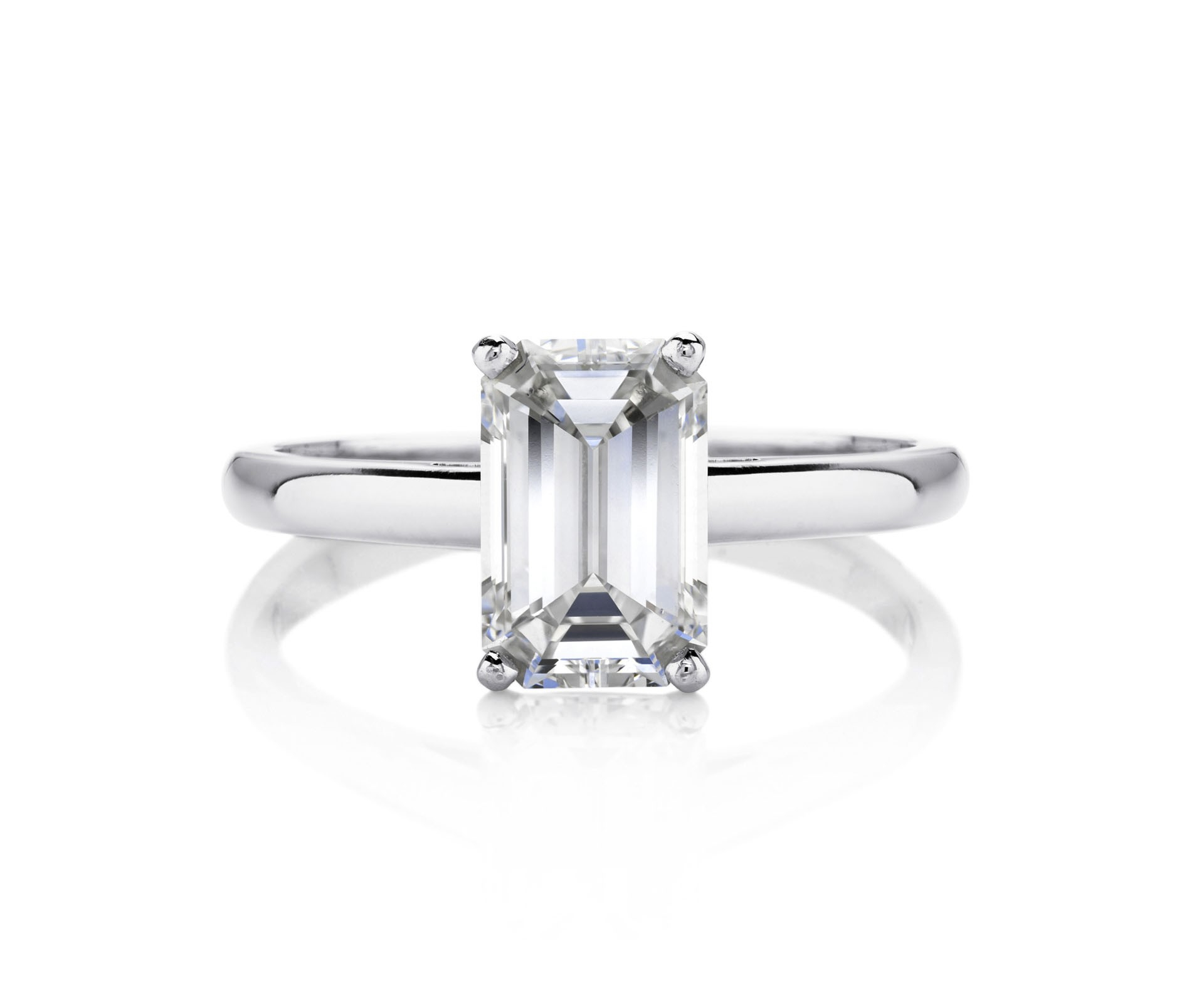 Db Classic Emerald Cut Solitaire Ring Pertaining To Current Prong Set Emerald Cut Diamond Wedding Bands (View 6 of 25)