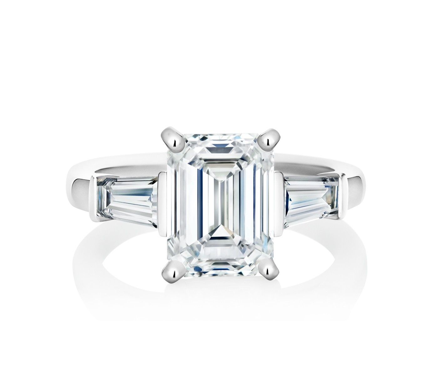 Db Classic Emerald Cut Solitaire Ring With Tapered Baguettes Regarding Solitaire Emerald Cut Engagement Rings (View 5 of 25)