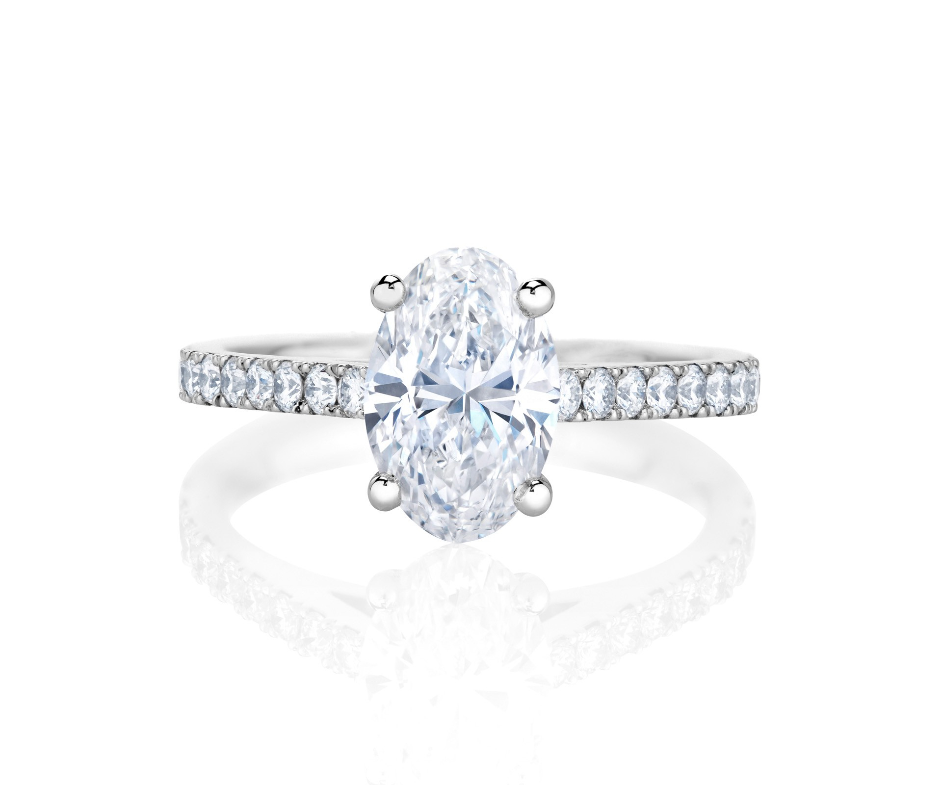 Db Classic Pavé Oval Cut Solitaire Ring In Oval Shaped Diamond Micropavé Engagement Rings (View 7 of 25)