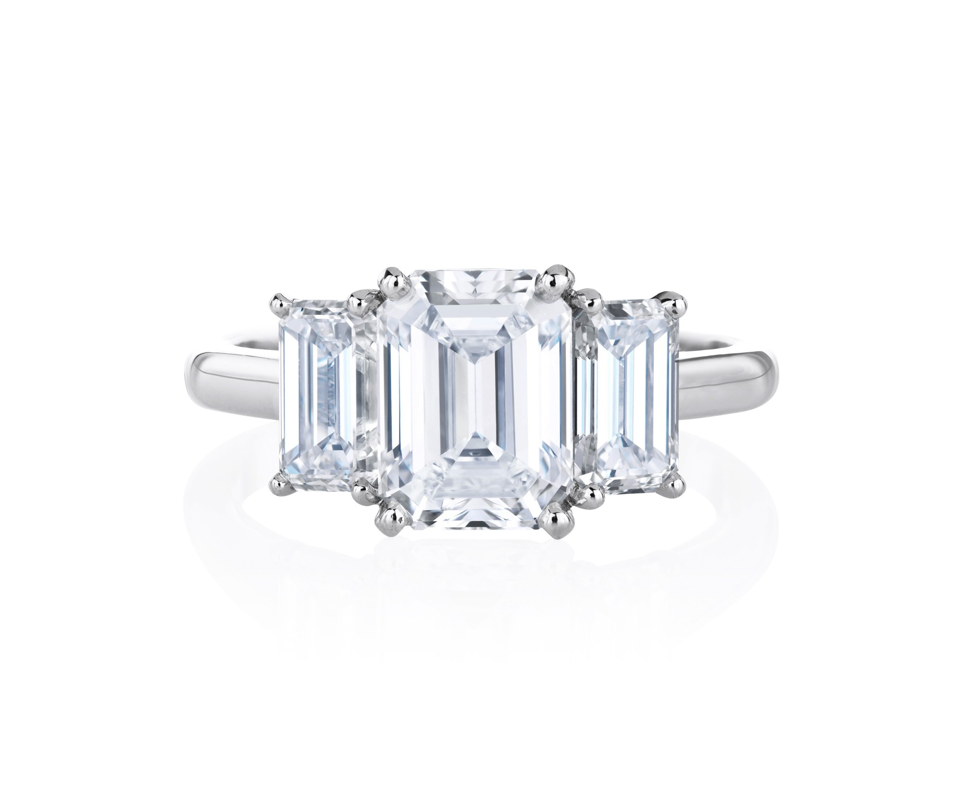 Db Classic Trio Emerald Cut Solitaire Ring Throughout Solitaire Emerald Cut Engagement Rings (View 10 of 25)