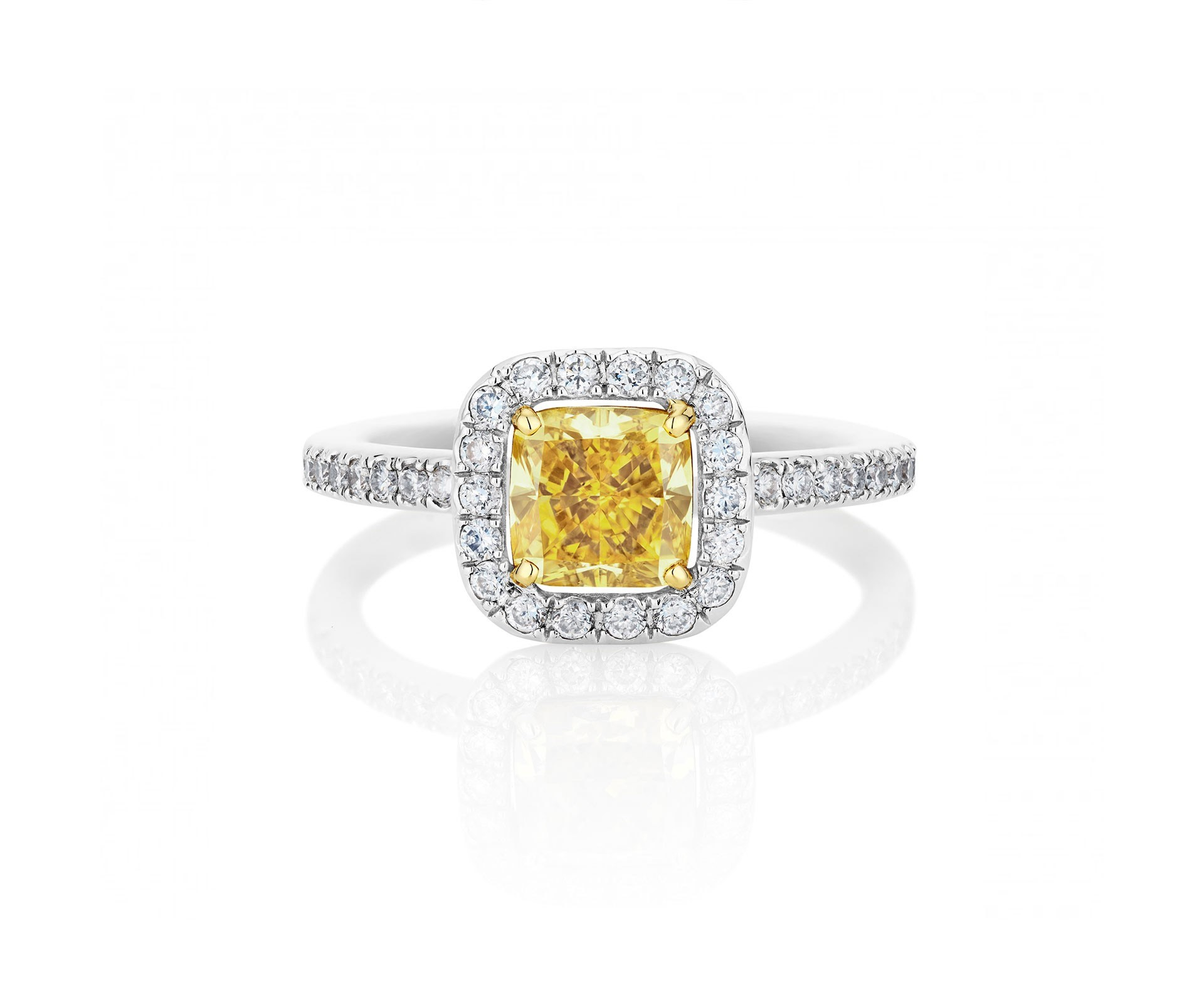 De Beers Yellow Aura Cushion Cut Ring Throughout Cushion Cut Yellow Diamond Micropavé Rings (Gallery 20 of 25)