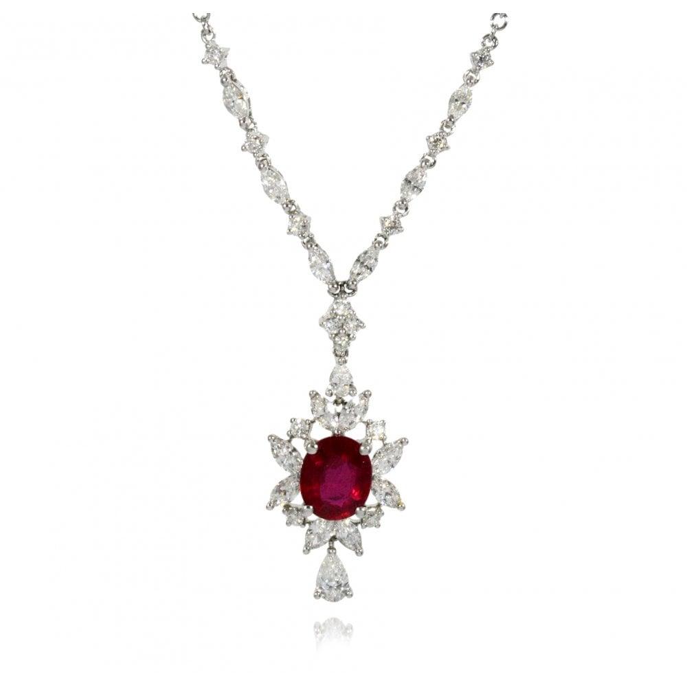 De Marsac 18Ct Gold Ruby 1.44Ct & Diamond Cluster Necklace In 2019 Ruby And Diamond Cluster Necklaces (Gallery 6 of 25)