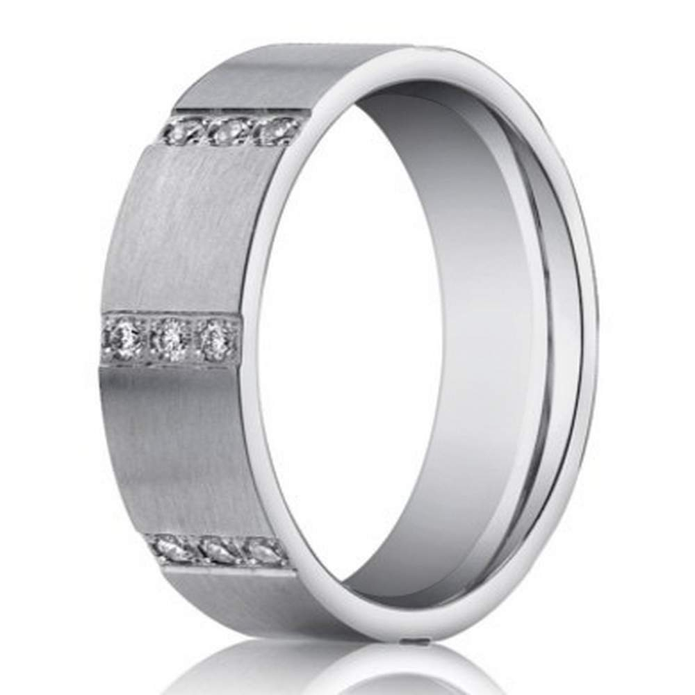 Designer Men's 14k White Gold Wedding Band, Pave Diamond Rows | 6mm Throughout Newest Vertical Diamond Row Wedding Bands (View 7 of 25)