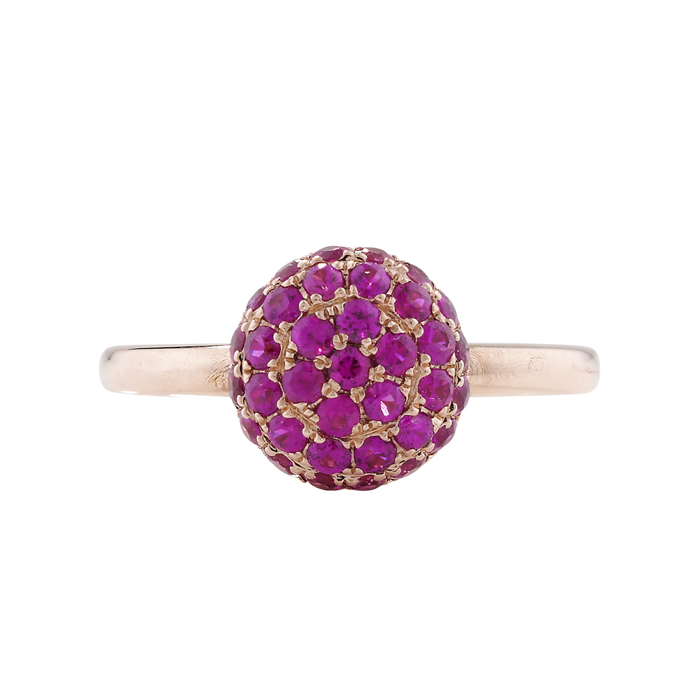 Designer Rose Gold Ruby Ball Ring Within Oval Shaped Ruby Micropavé Rings (Gallery 16 of 25)