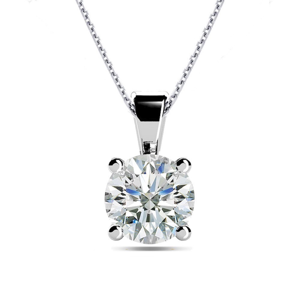 Details About 0.7Ct I1/hi Natural Round Diamond Platinum Solitaire Diamond  Pendant Necklace With Regard To Most Up To Date Diamond Necklaces In Platinum (Gallery 23 of 25)