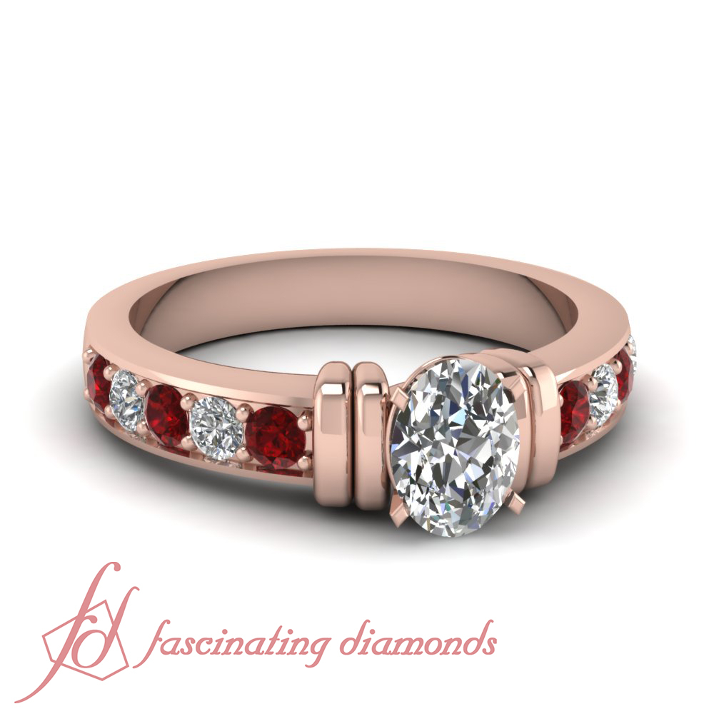 Details About 1.30 Carat Pave Set Round Ruby Gemstone Diamond Rings With  Oval Shaped In Center In Oval Shaped Ruby Micropavé Rings (Gallery 21 of 25)