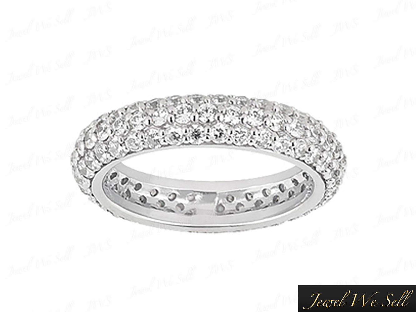 Details About 1.75Ct Round Cut Diamond 3 Row Pave Eternity Band Wedding  Ring 14K Gold H Si2 In Triple Row Micropavé Diamond Engagement Rings (Gallery 19 of 25)