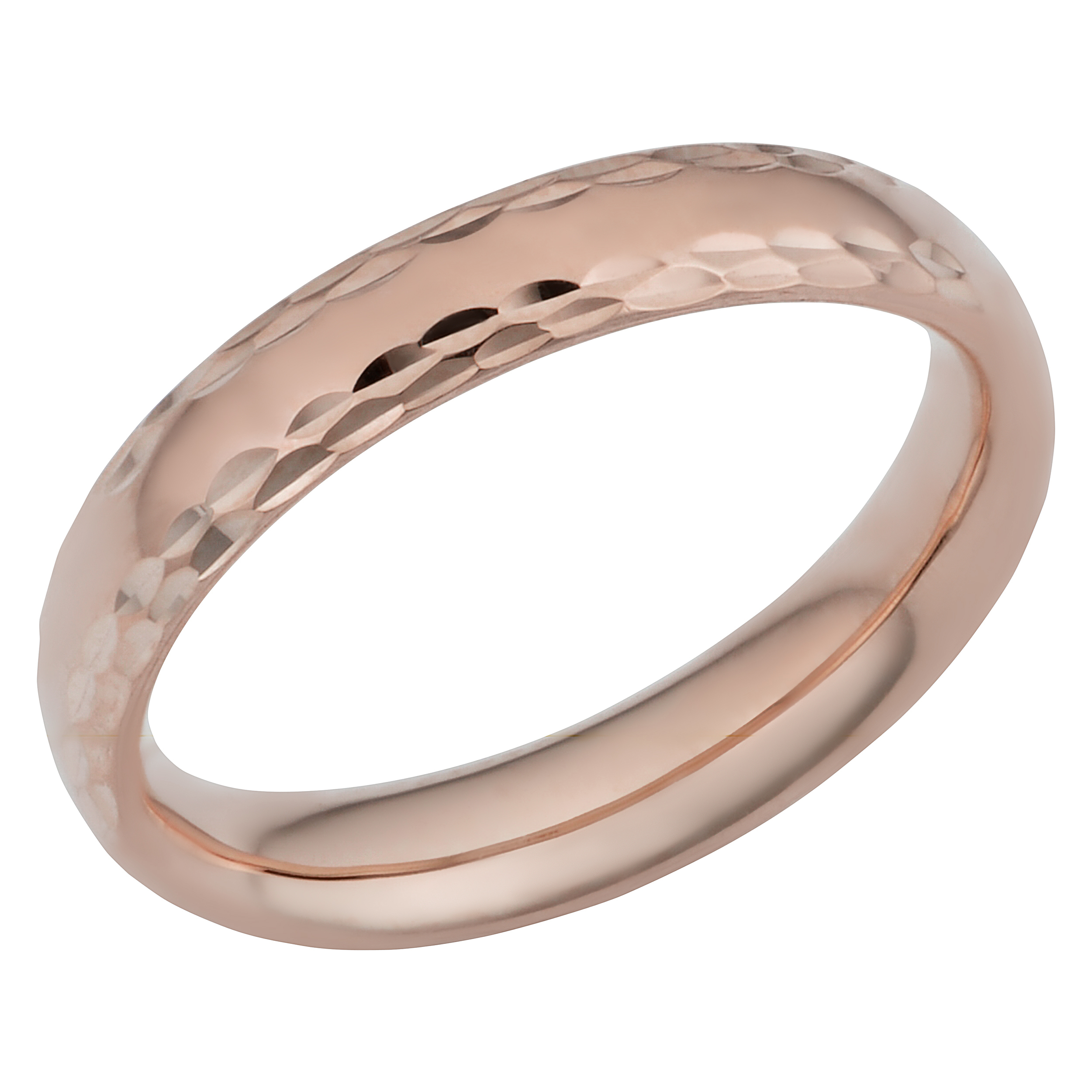 Details About 14K Rose Gold Diamond Cut 4Mm Wide Hollow Wedding Band Ring Regarding 2018 Wide Diamond Wedding Bands (Gallery 24 of 25)