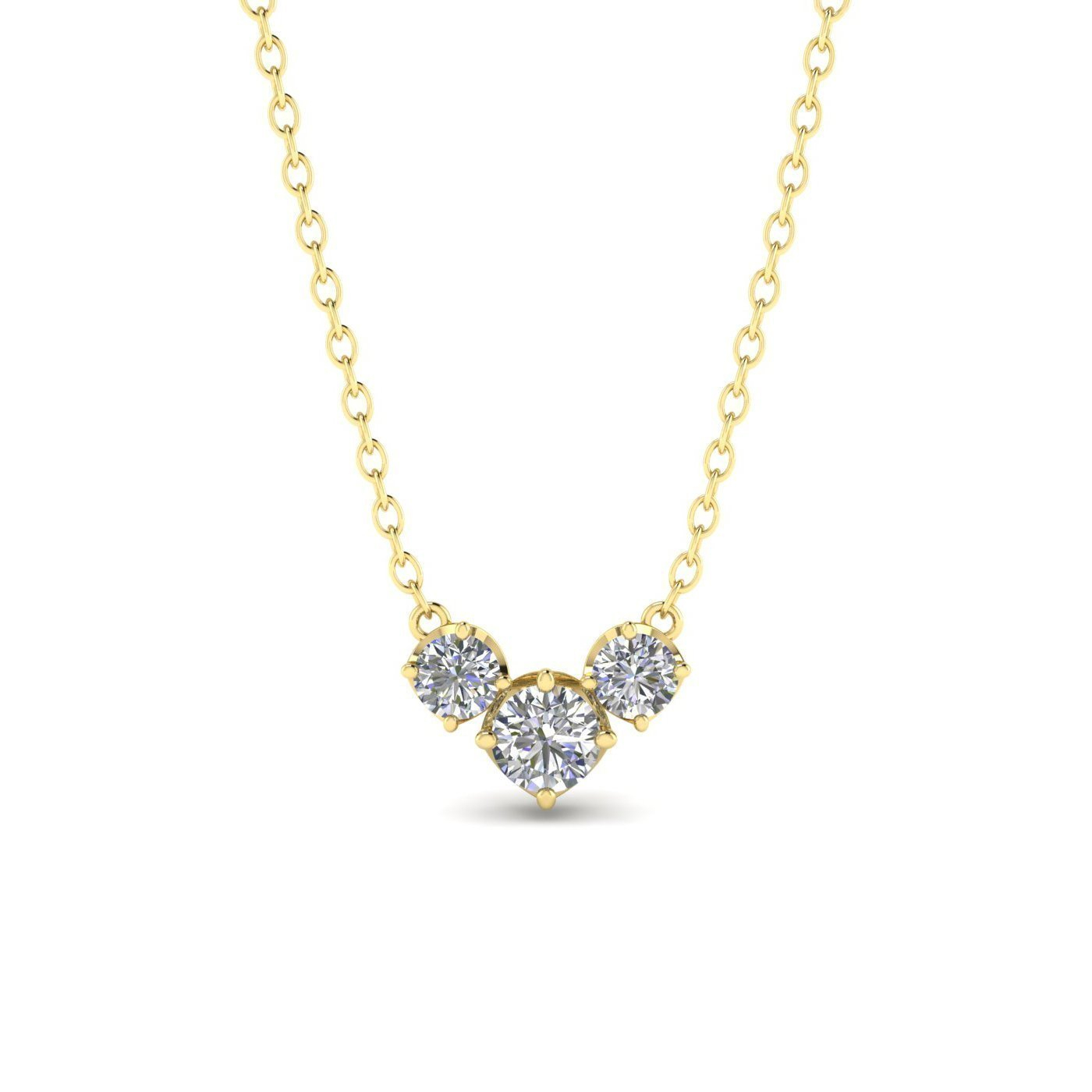 Details About 14k Yellow Gold 3 Stone Diamond Necklace – (View 10 of 25)