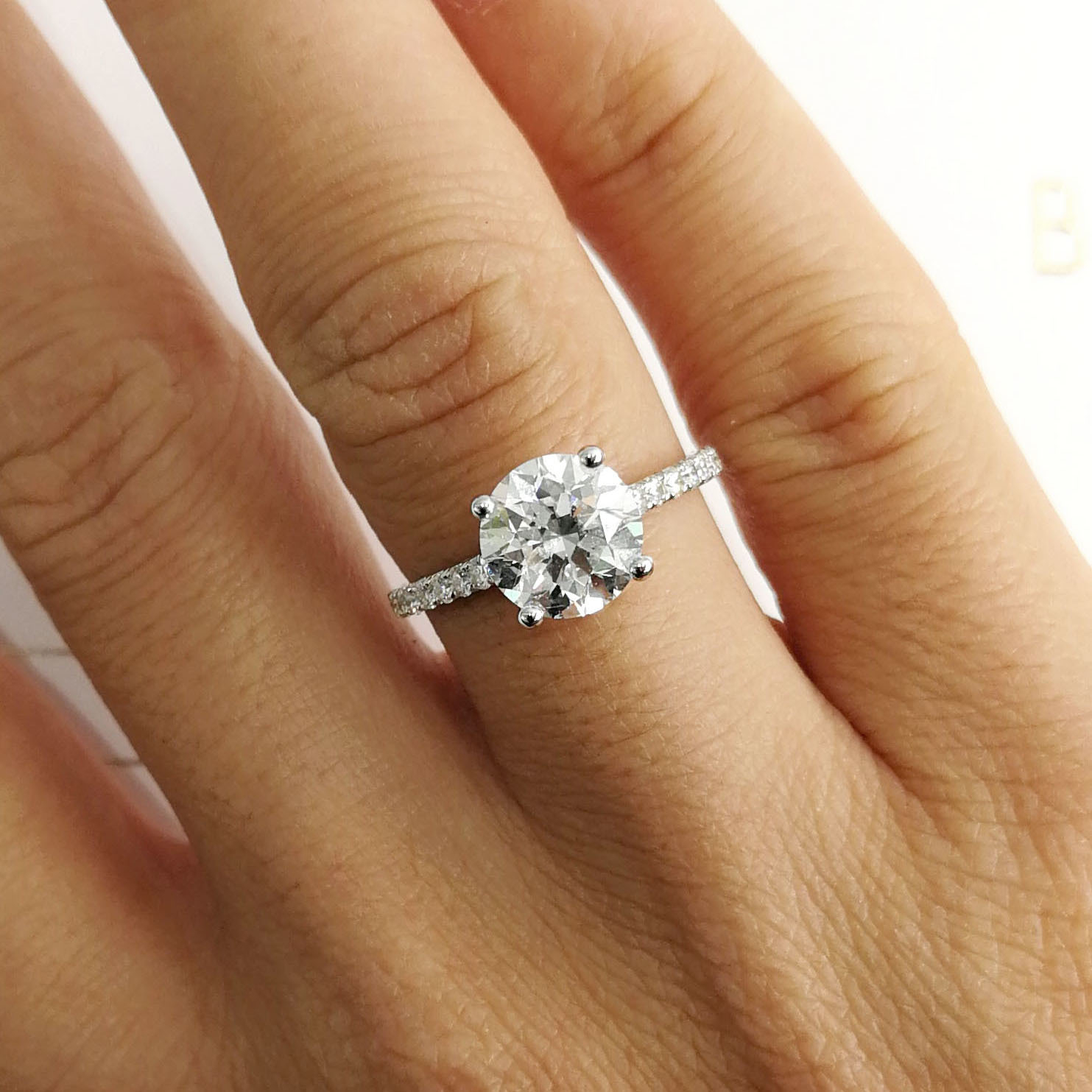 Details About 2 Carat Round Shape D – Vs2 Side Stone Diamond Gia Engagement  Ring Sizeable With Regard To Round Brilliant Engagement Rings With Pear Shaped Side Stones (View 24 of 25)