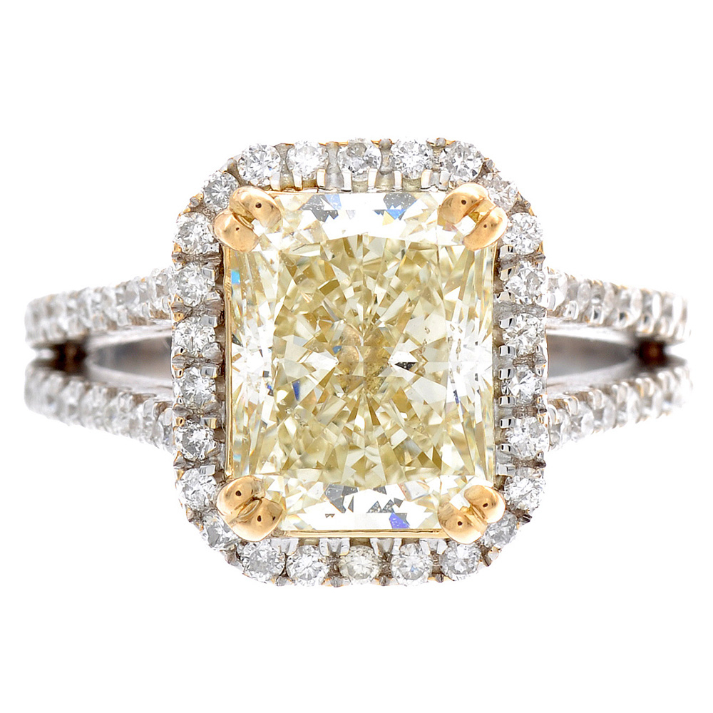 Details About 5.66 Ct Radiant Cut Diamond Engagement Ring Halo Style 18K  Gold Fancy Yellow Pertaining To Radiant Yellow Diamond Rings (Gallery 13 of 25)