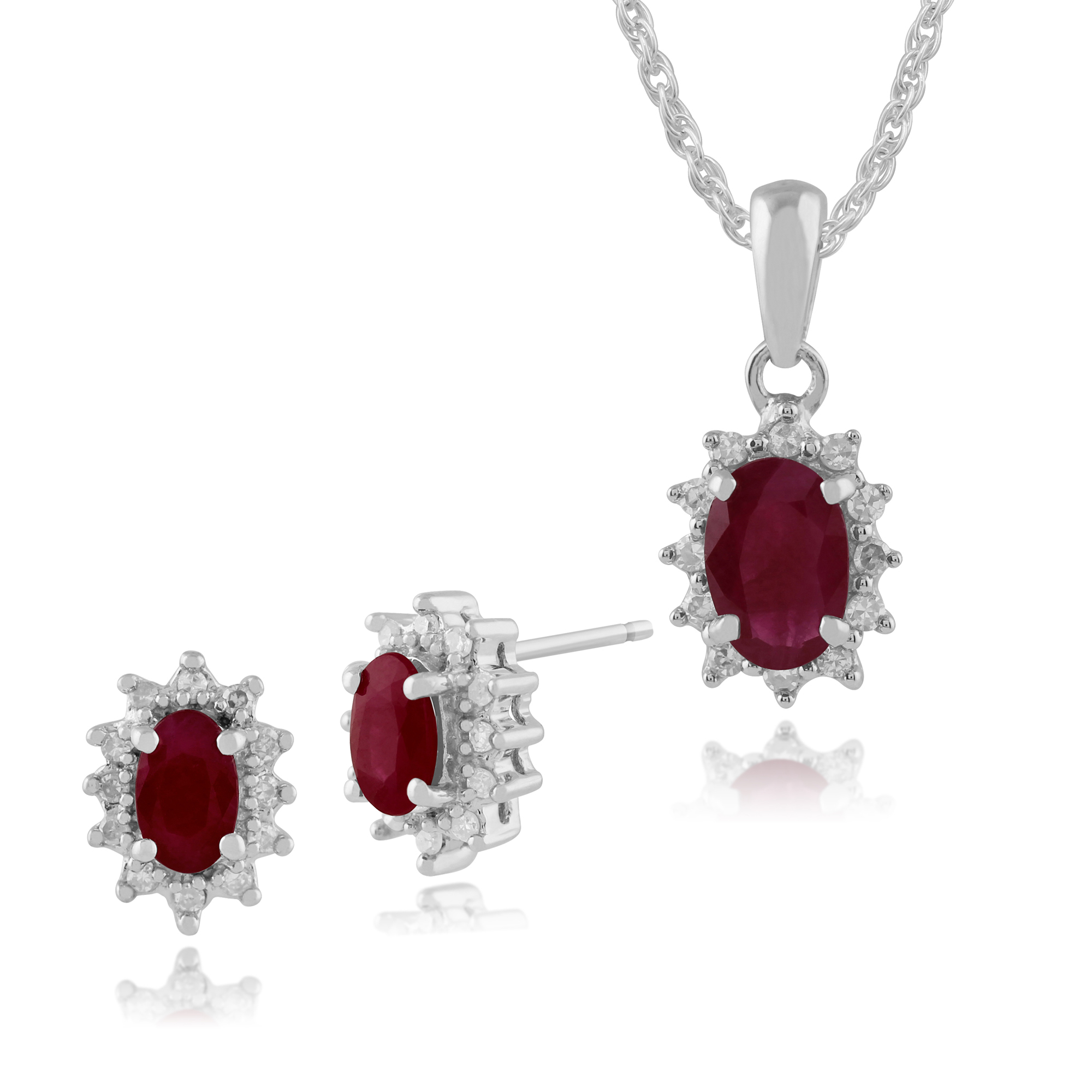 Details About 9Ct White Gold Natural Ruby & Diamond Cluster Stud Earrings &  45Cm Necklace Set Within Newest Ruby And Diamond Cluster Necklaces (View 13 of 25)