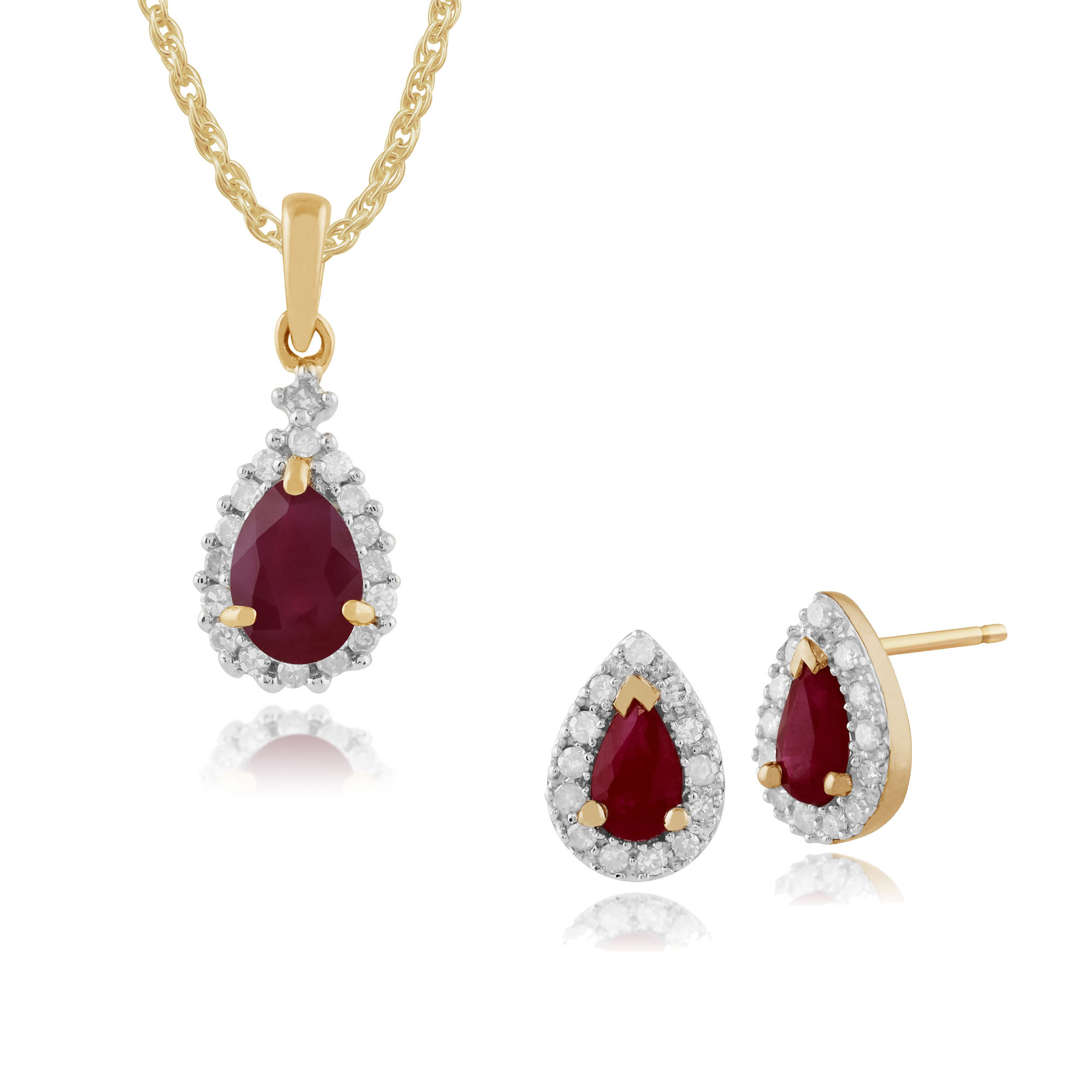 Details About Gemondo 9ct Yellow Gold Ruby & Diamond Cluster Stud Earrings & 45cm Necklace Set With 2019 Ruby And Diamond Cluster Necklaces (View 18 of 25)