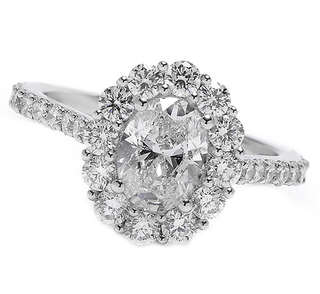 Details About Halo Diamond Oval Cut Engagement Ring Pave 18K White Gold   (View 8 of 25)