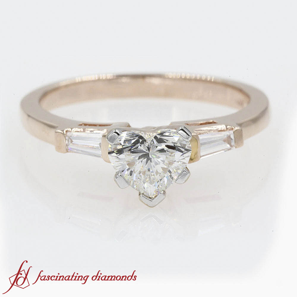 Details About Heart Diamond And Tapered Baguette 3 Stone Bar Set Engagement Ring (View 6 of 25)