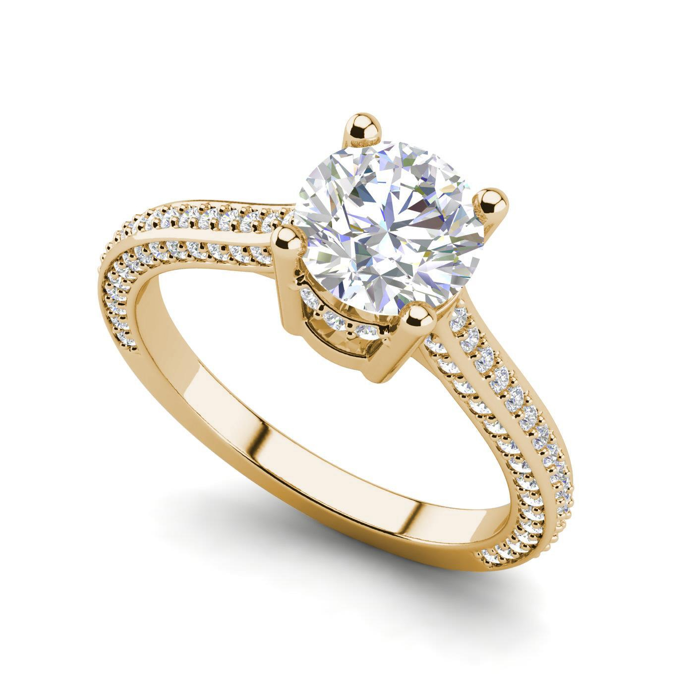 Details About Micropave 2.15 Carat Vvs2/f Round Cut Diamond Engagement Ring  Yellow Gold With Round Brilliant Diamond Micropavé Engagement Rings (Gallery 22 of 25)