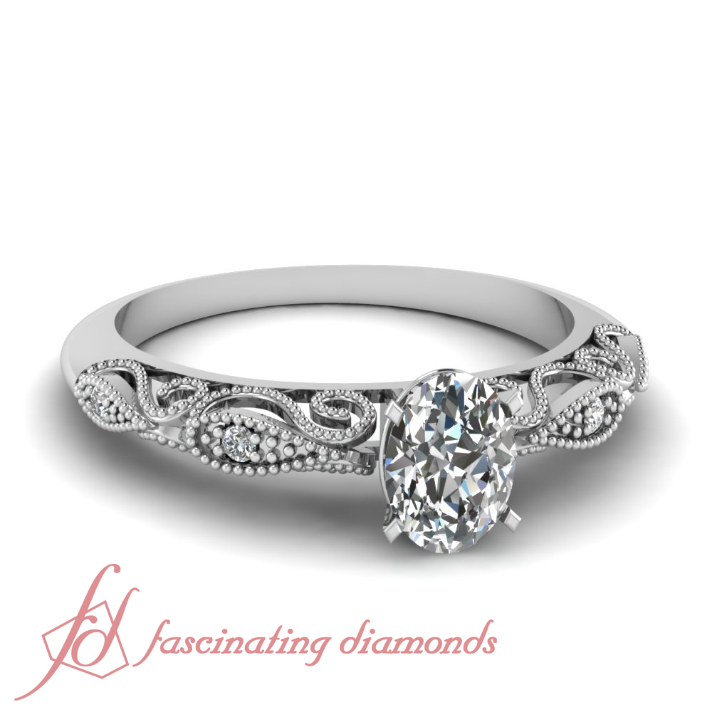 Details About Pave Set Filigree Fretwork Engagement Ring 3/4 Ct Oval Shaped  Diamond Si2 Gia Throughout Oval Shaped Diamond Micropavé Engagement Rings (View 9 of 25)